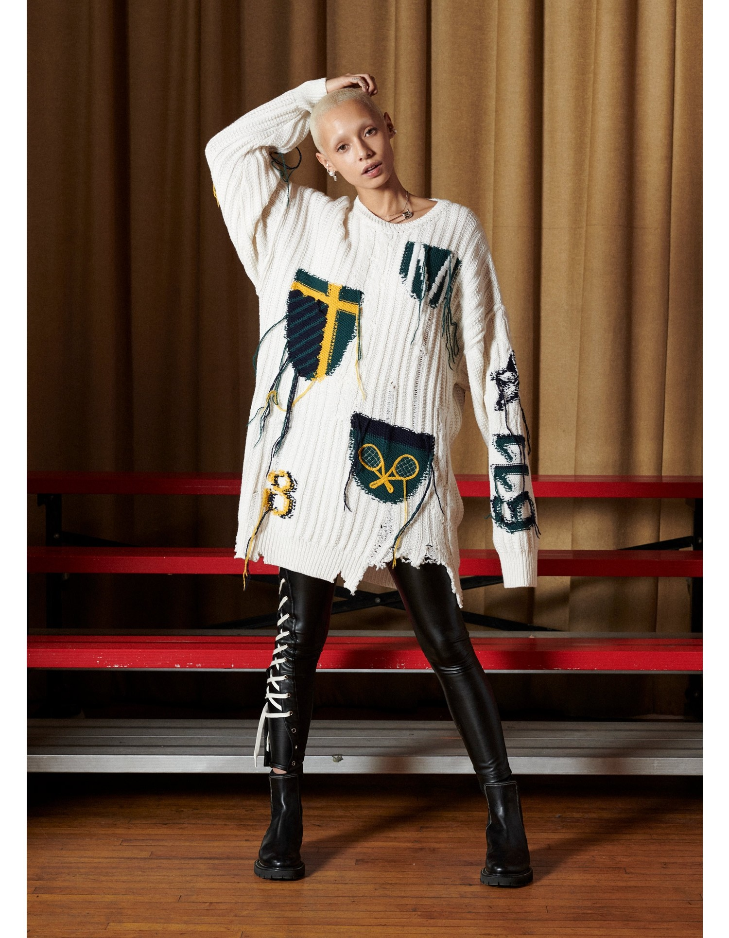 MONSE Inside Out Crest Sweater Dress on Model Full Front View