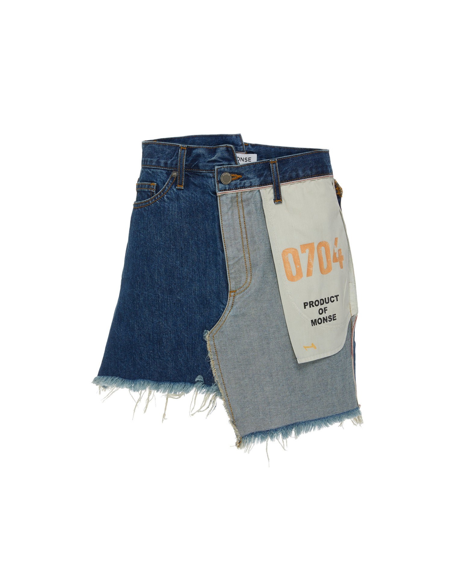 MONSE Inside Out Denim Skirt on Model Front View