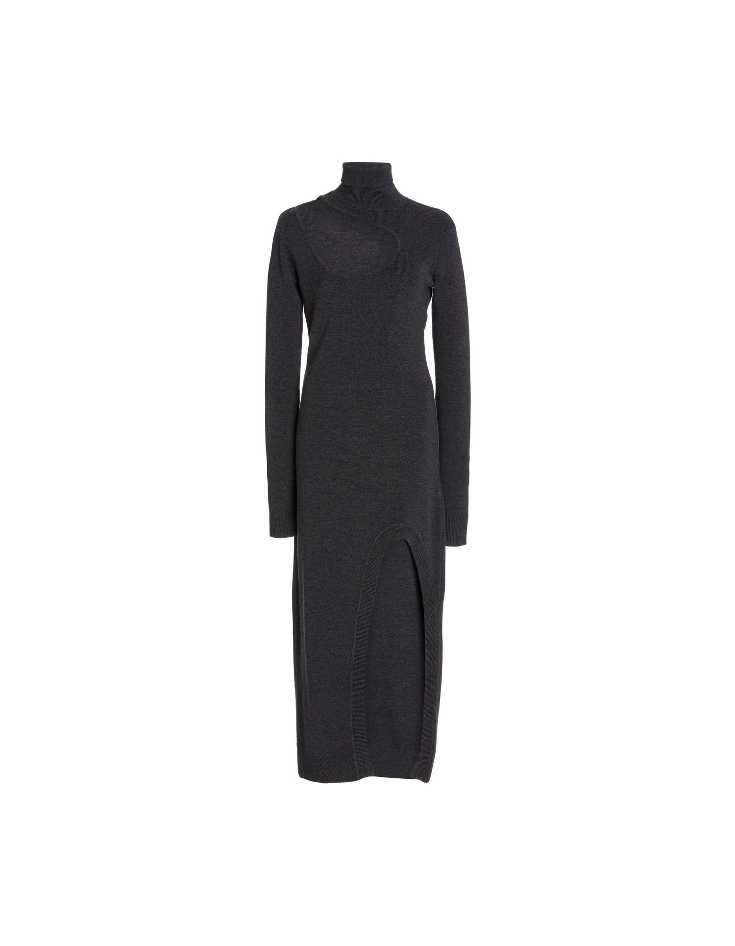 MONSE Kidney Bean Cut Out Knit Dress in Dark Grey on Model Front View