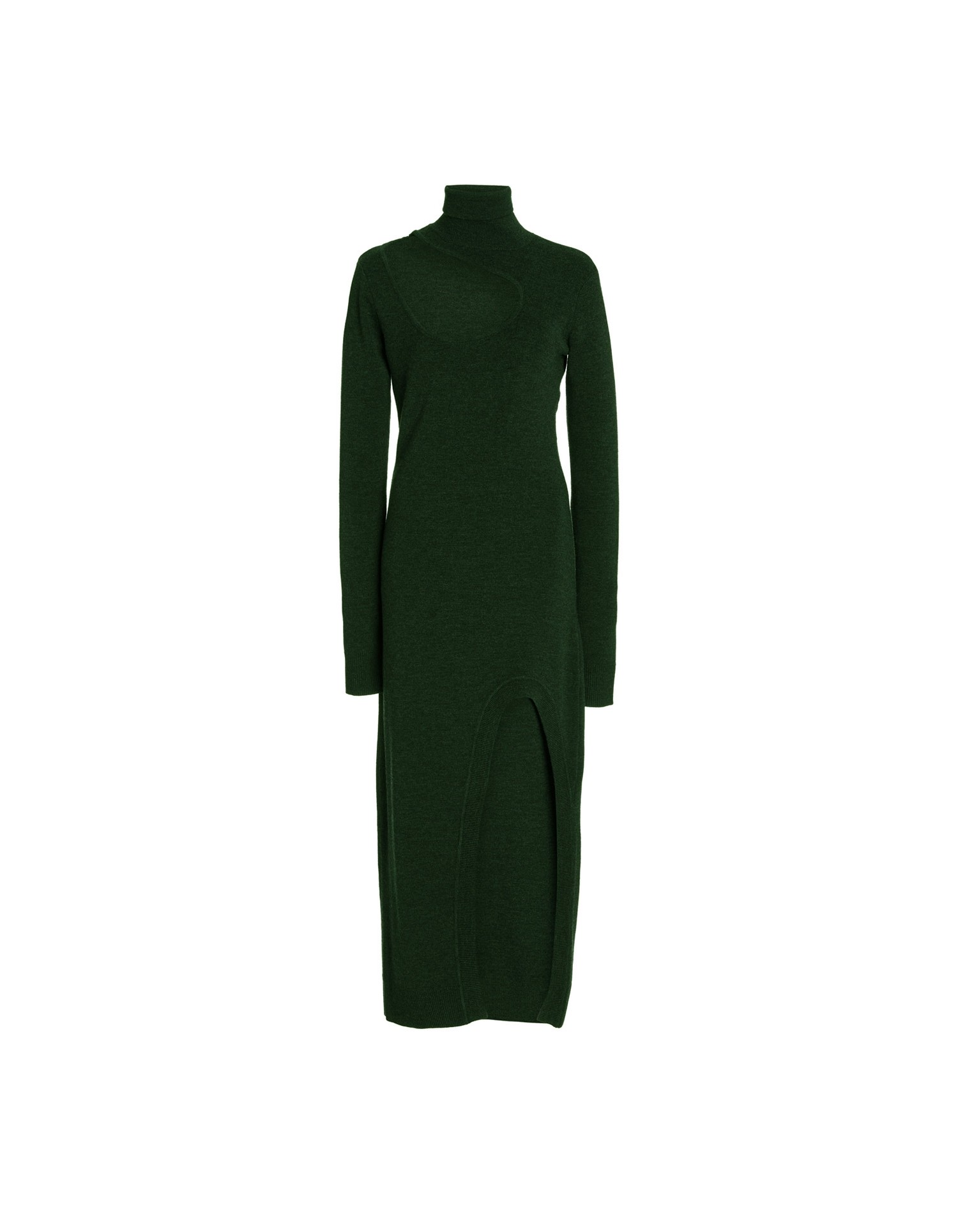 MONSE Kidney Bean Cut Out Knit Dress in Forest Green Flat Front View