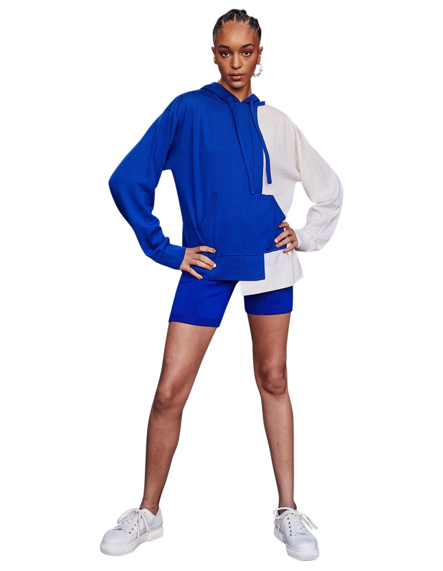 MONSE Knitted Color Block Hoodie on Model No Background Front