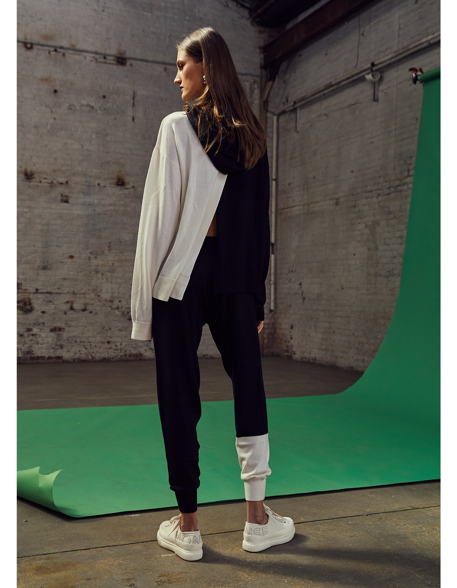MONSE Knitted Color Block Hoodie in Midnight and Ivory on Model Front View