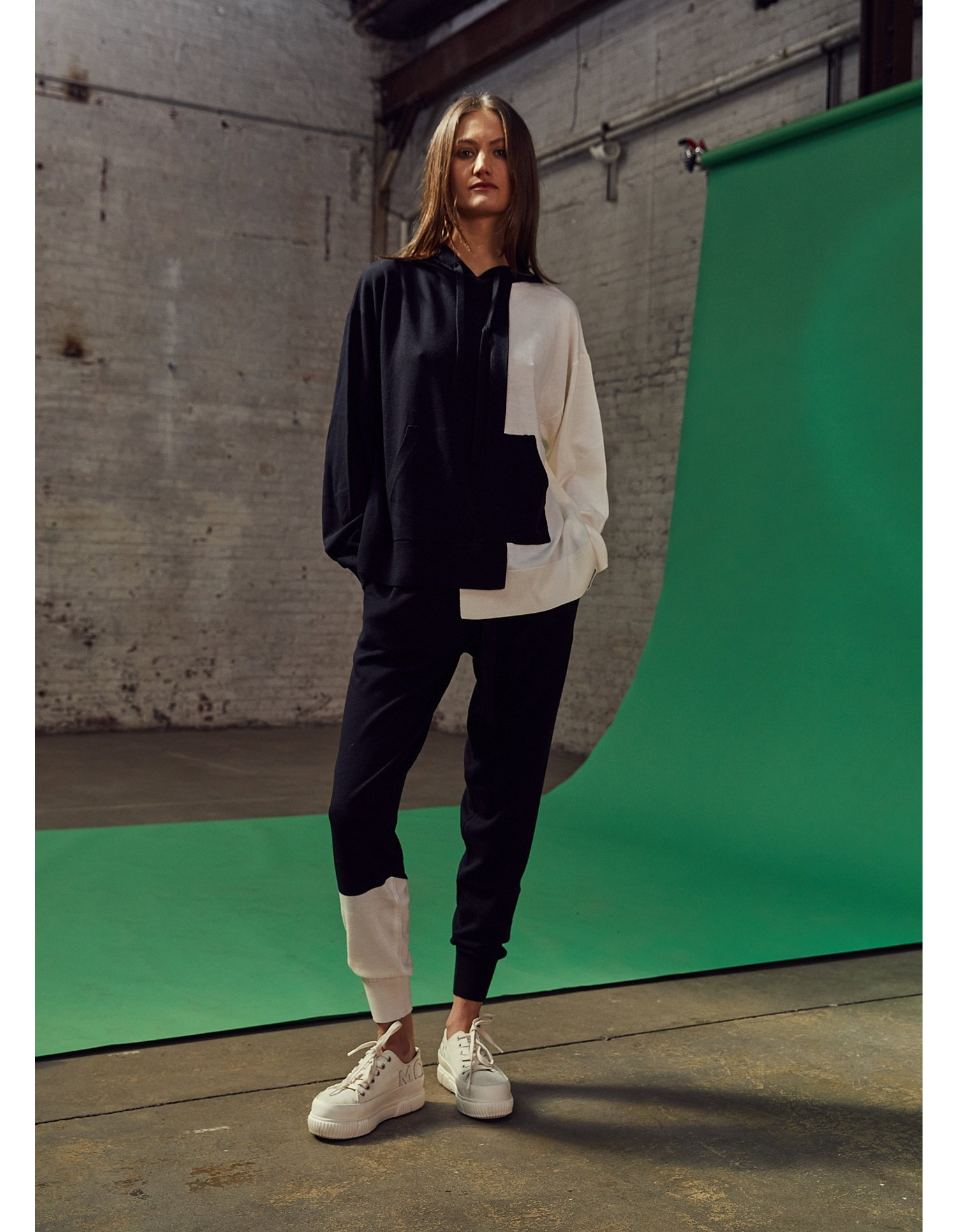 MONSE Knitted Color Block Hoodie in Midnight and Ivory Flat Front