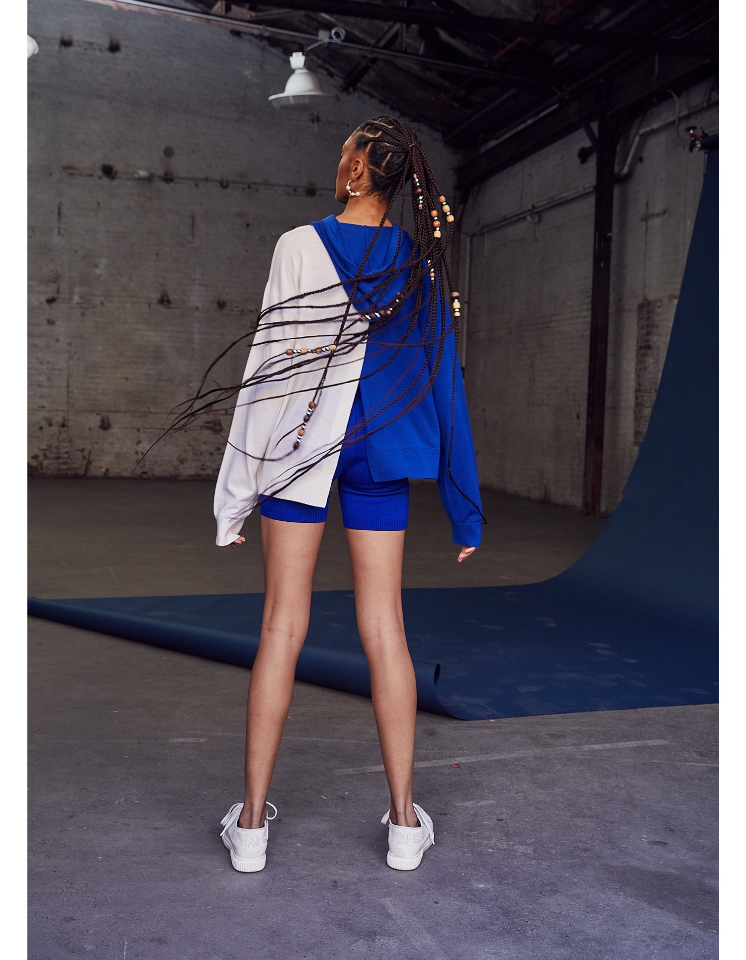 MONSE Knitted Color Block Hoodie on Model Front View