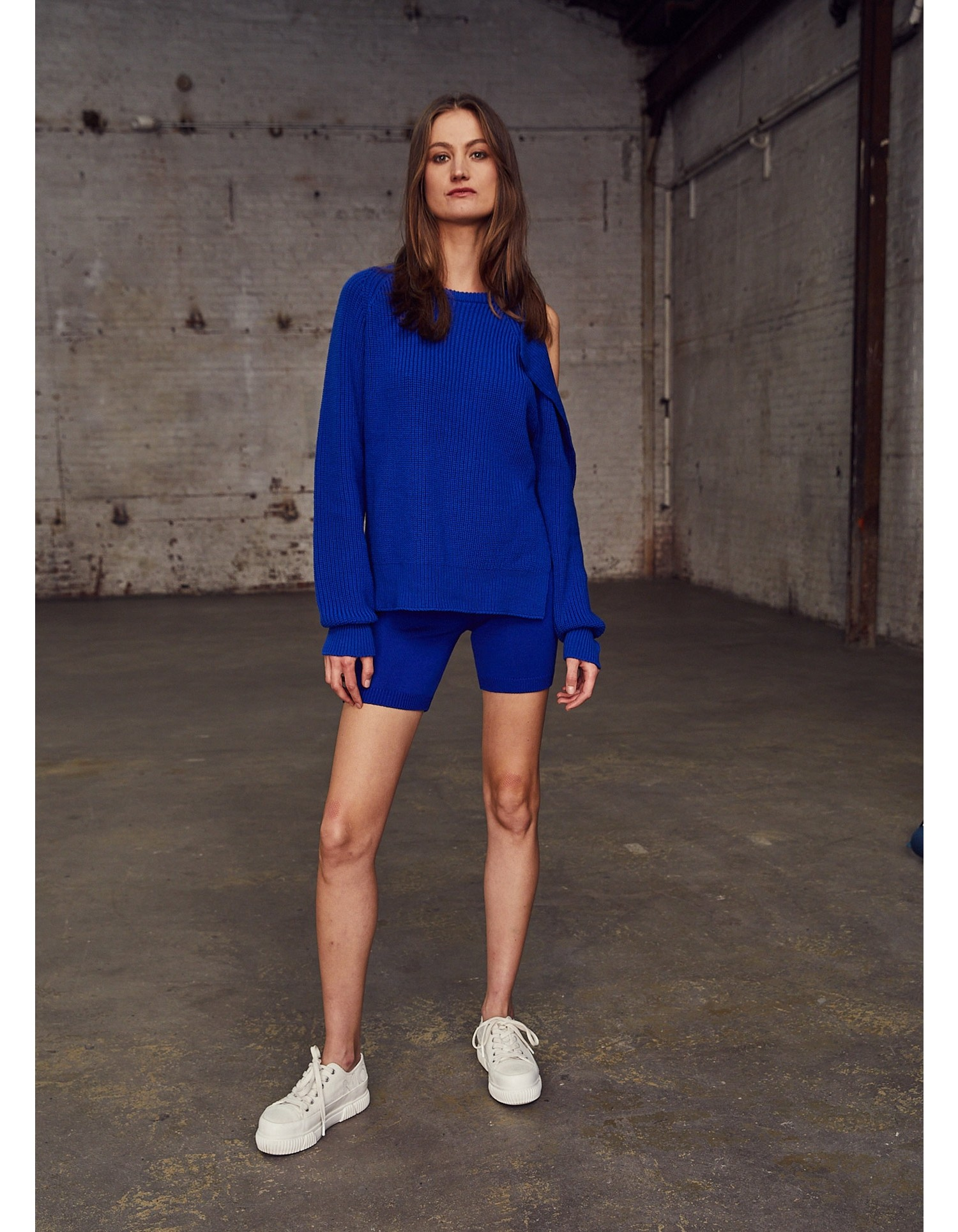 MONSE Knitted Shorts in Electric Blue on Model Action View