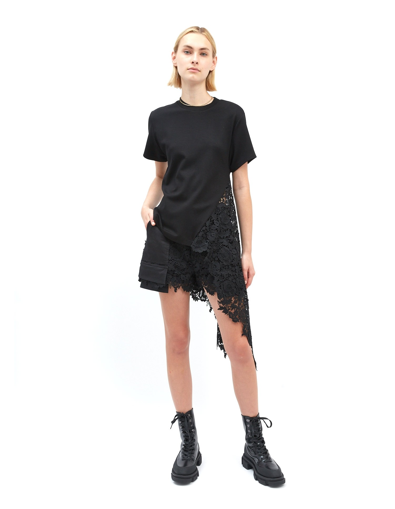 MONSE Lace Drawstring Tee in Black on Model Side View