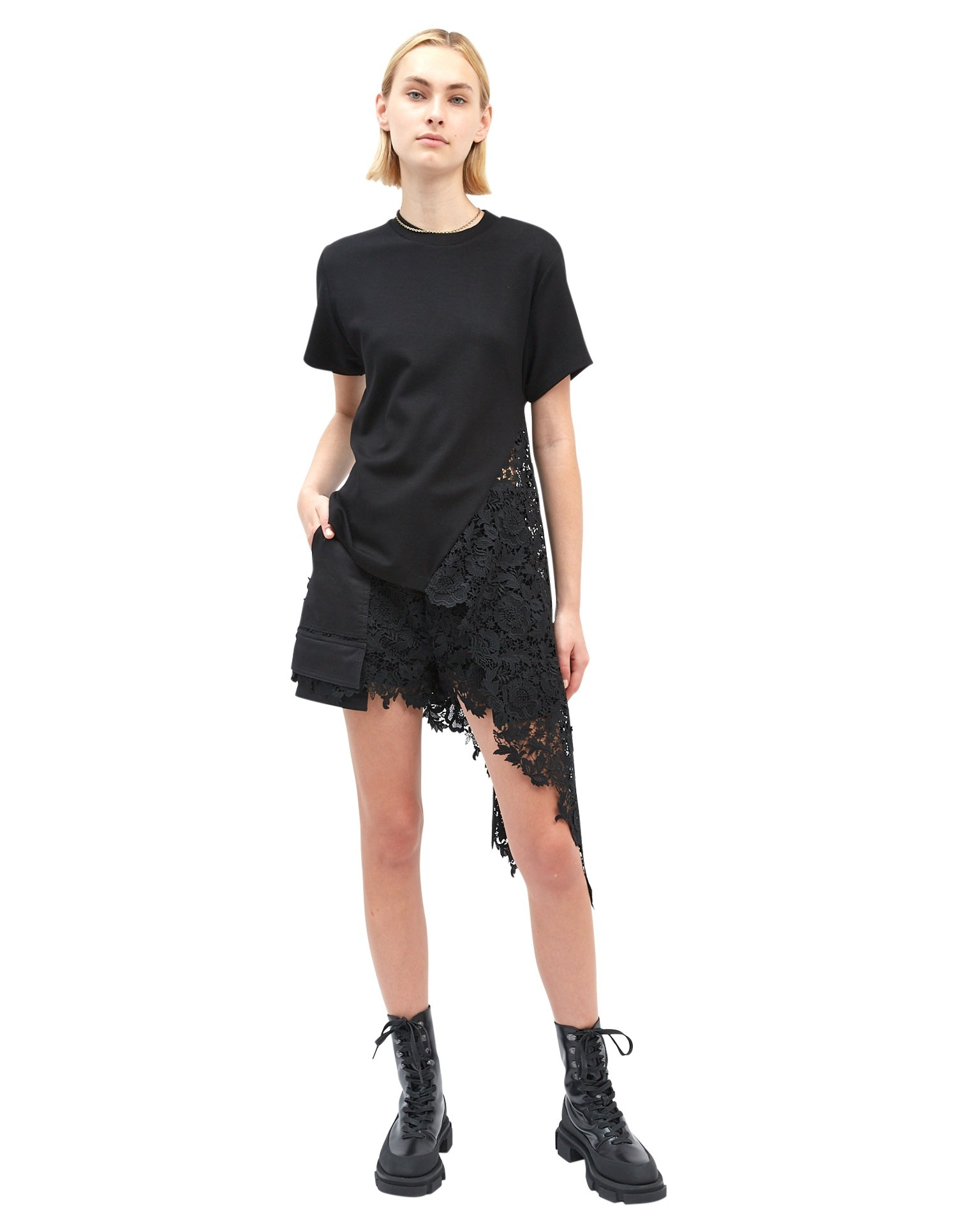 MONSE Lace Extended Pocket Short in Black on Model Full Front View