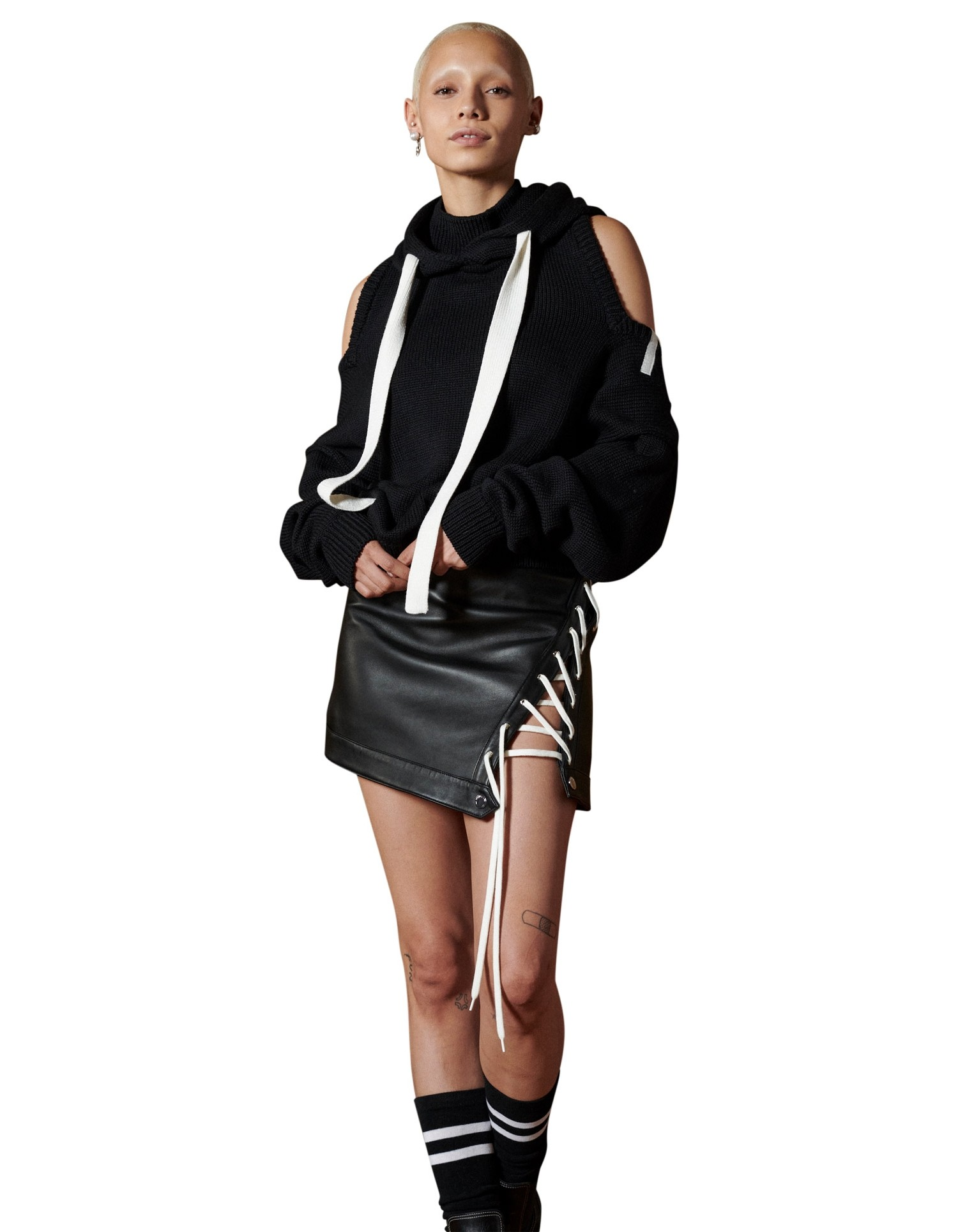 MONSE Lace Up Leather Mini Skirt in Black on Model Front View