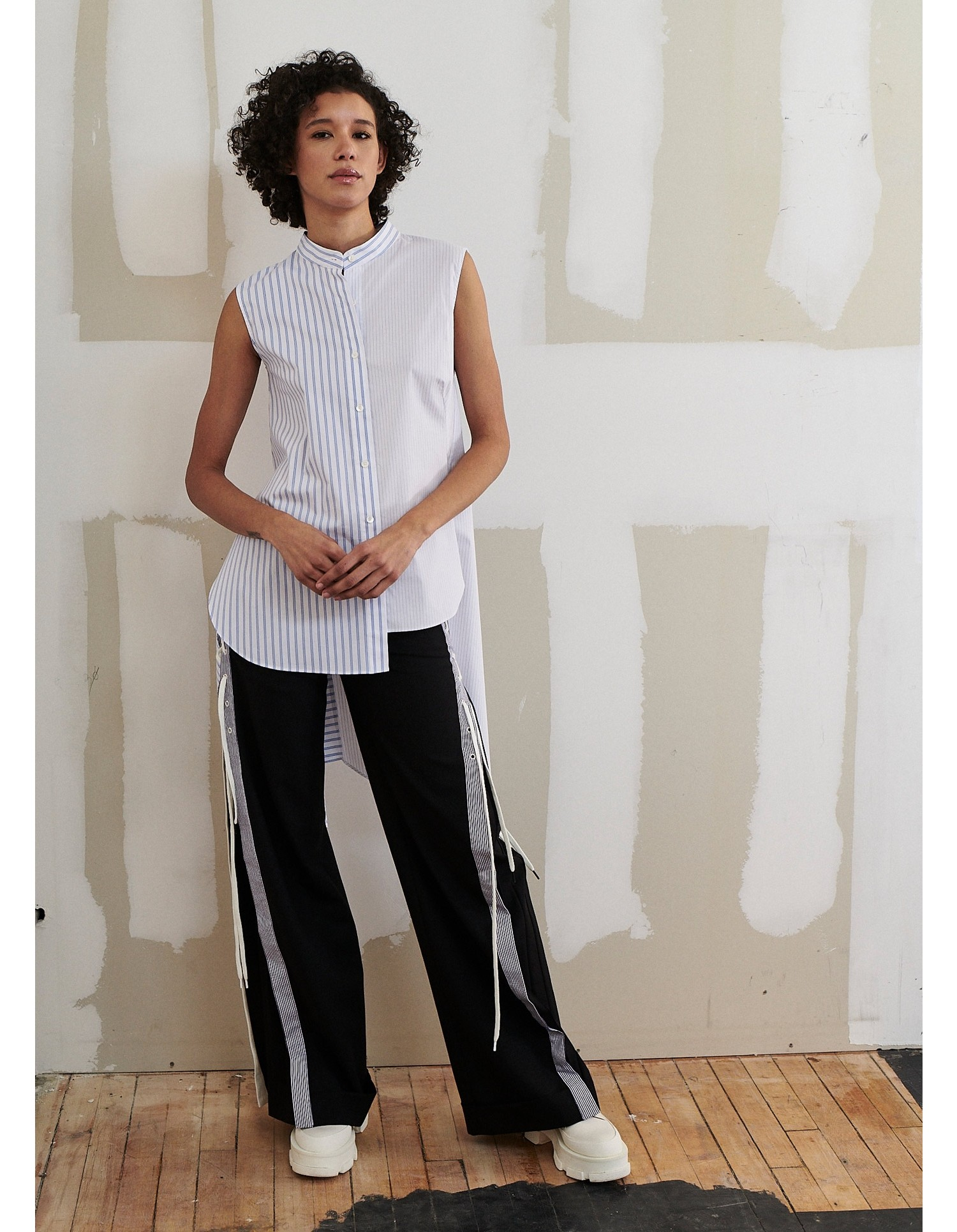 MONSE Lace Up Wide Leg Trouser on Model Front View