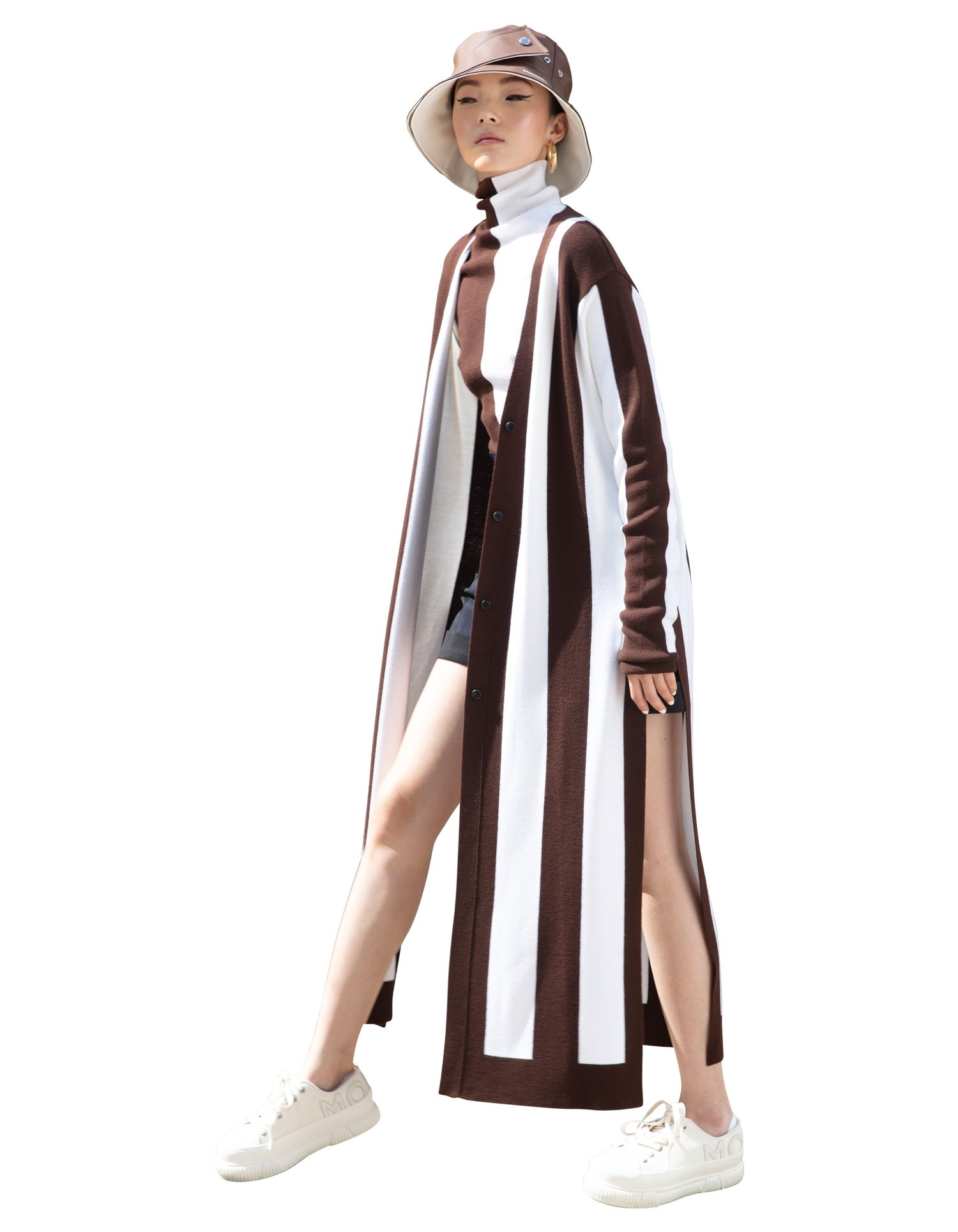 MONSE Long Sleeve Striped Cardigan in Ivory and Chocolate on Model Front View
