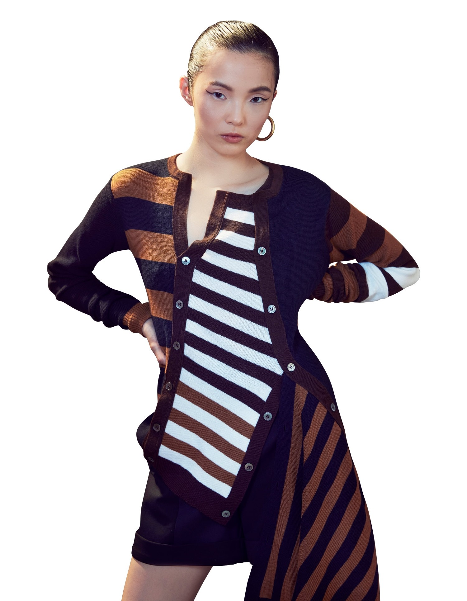 MONSE Multilayer Striped Cardigan in Midnight Multi on Model Front Detail View