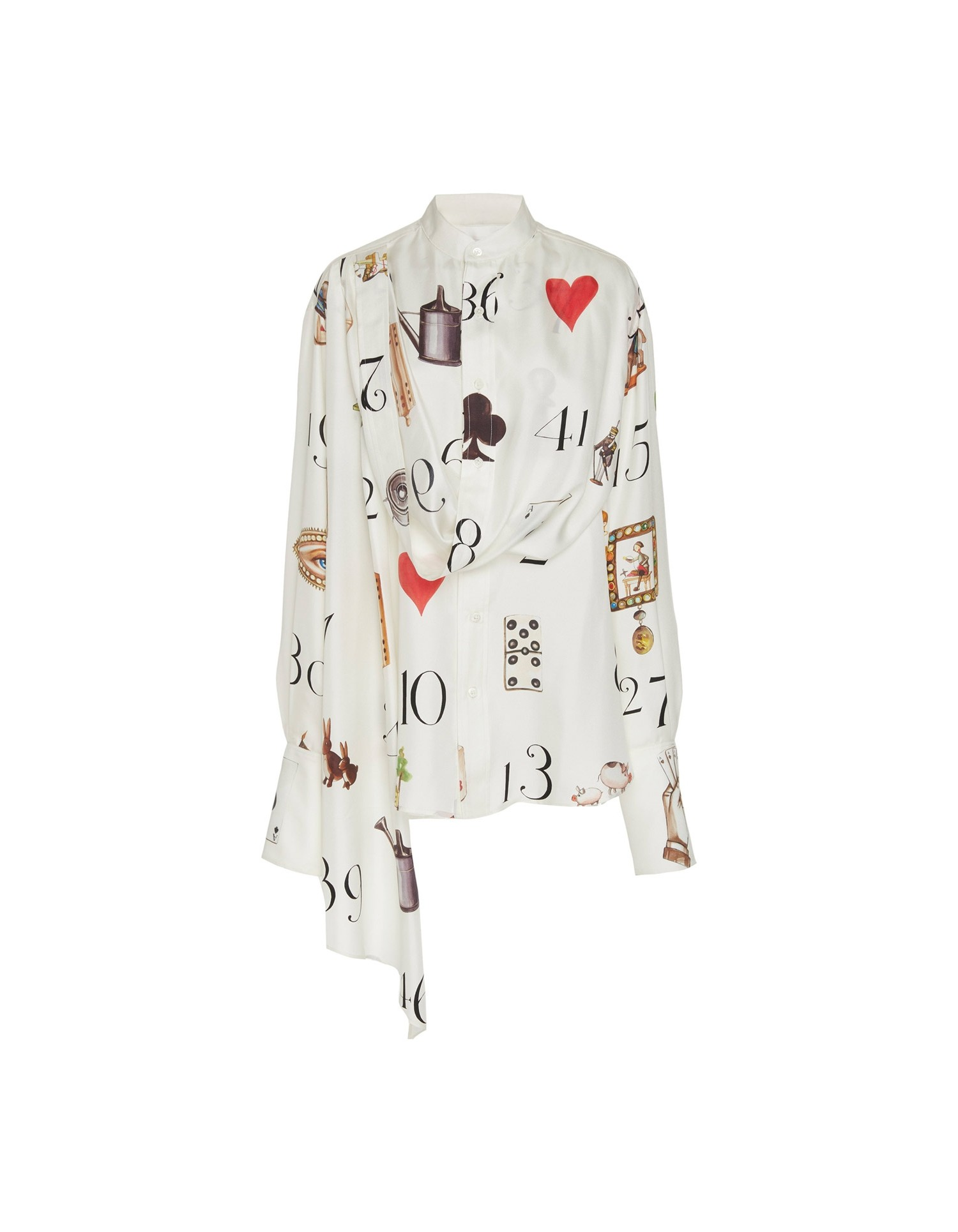 MONSE Numbers Print Silk Draped Blouse Flat Front