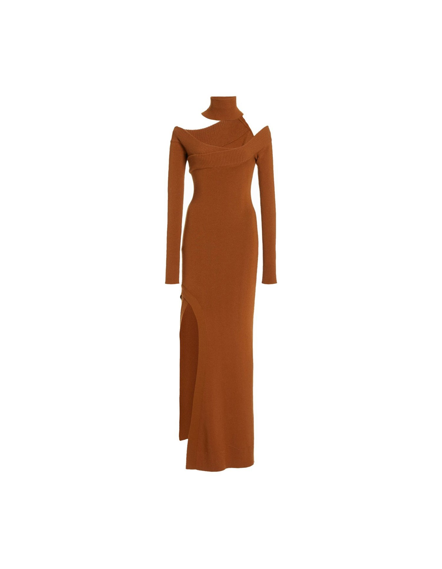 MONSE Off the Shoulder Turtleneck Arch Dress in Tan on Model Full Front View