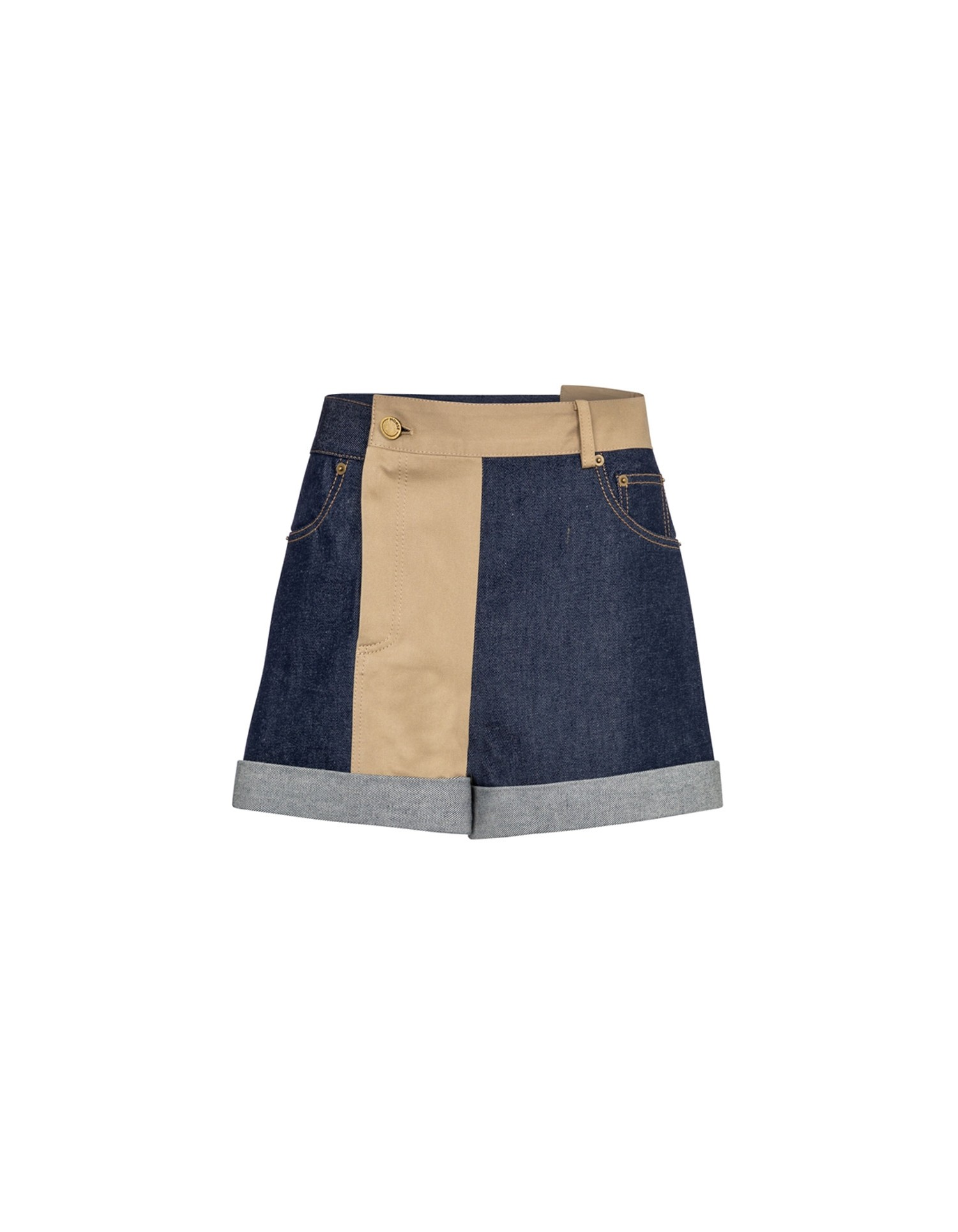 MONSE Patchwork Denim and Trouser Short Flat Front