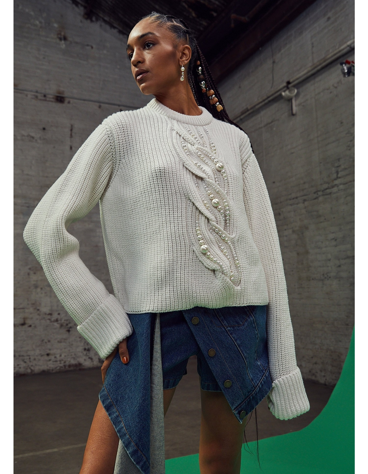 MONSE Pearl Cable Sweater in Ivory on Model Front Detail View