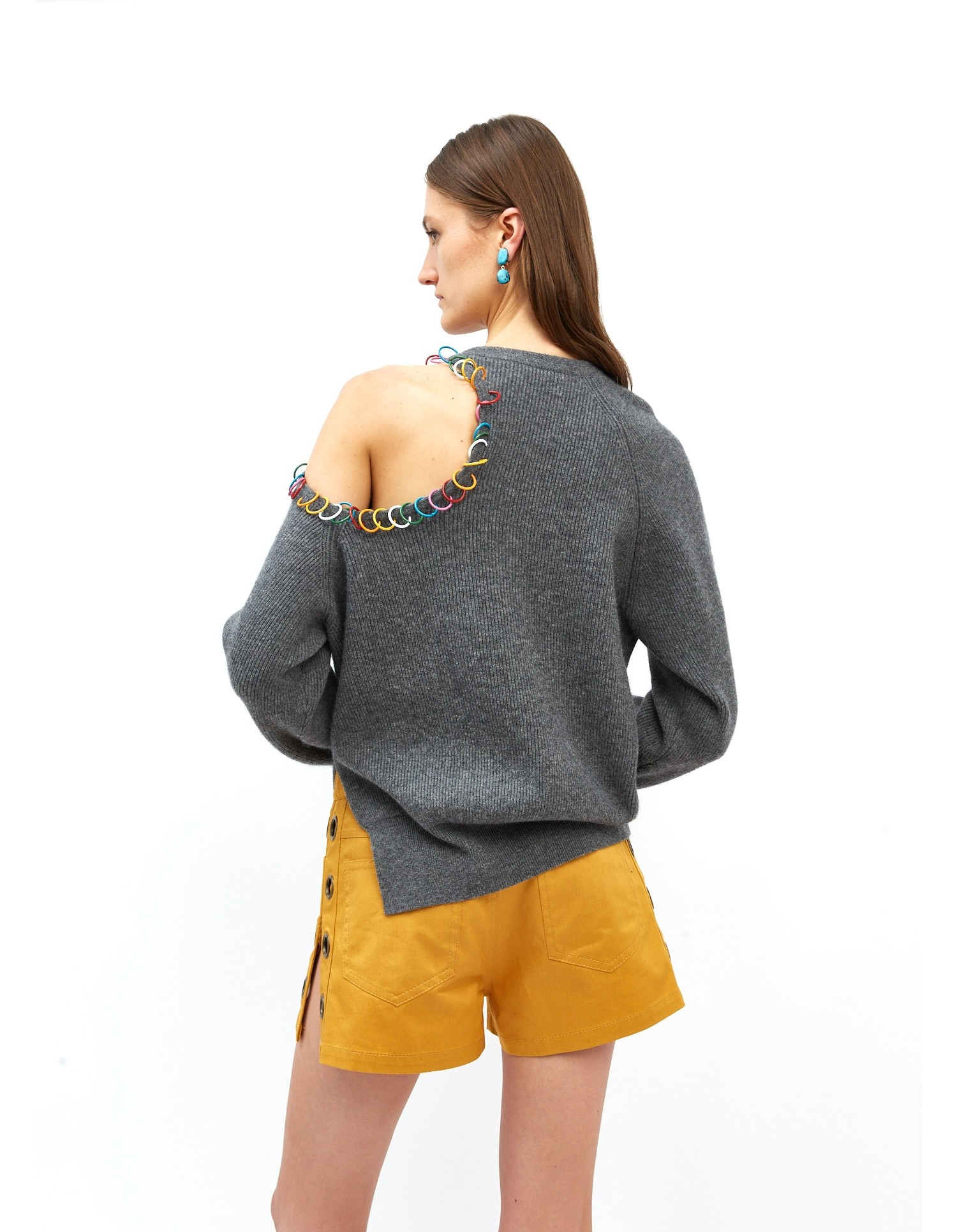 MONSE Pierced Cut Out Shoulder Sweater in Charcoal on Model No Background Full Front View