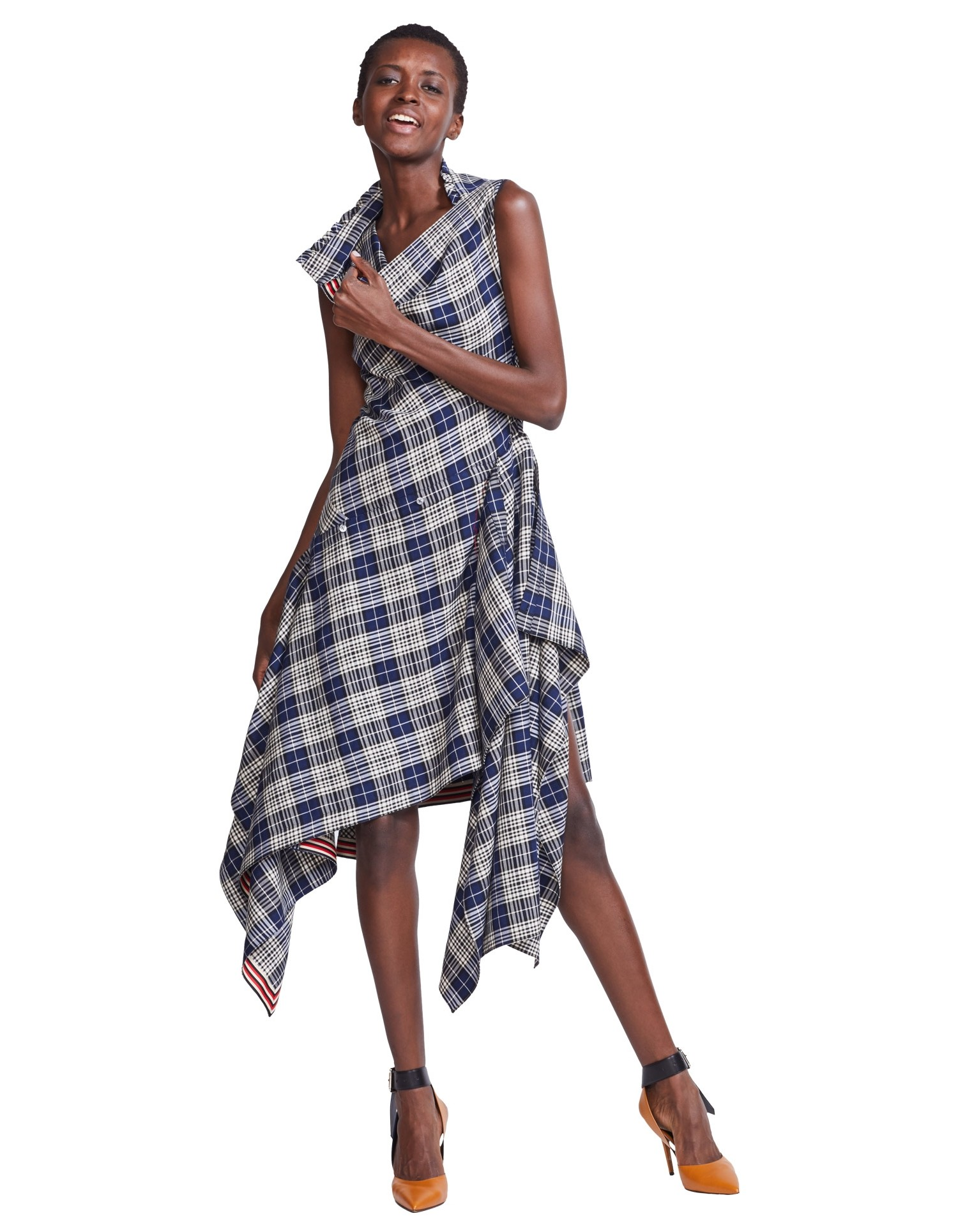 MONSE Plaid Cowl Neck Shirt Dress on Model Front View