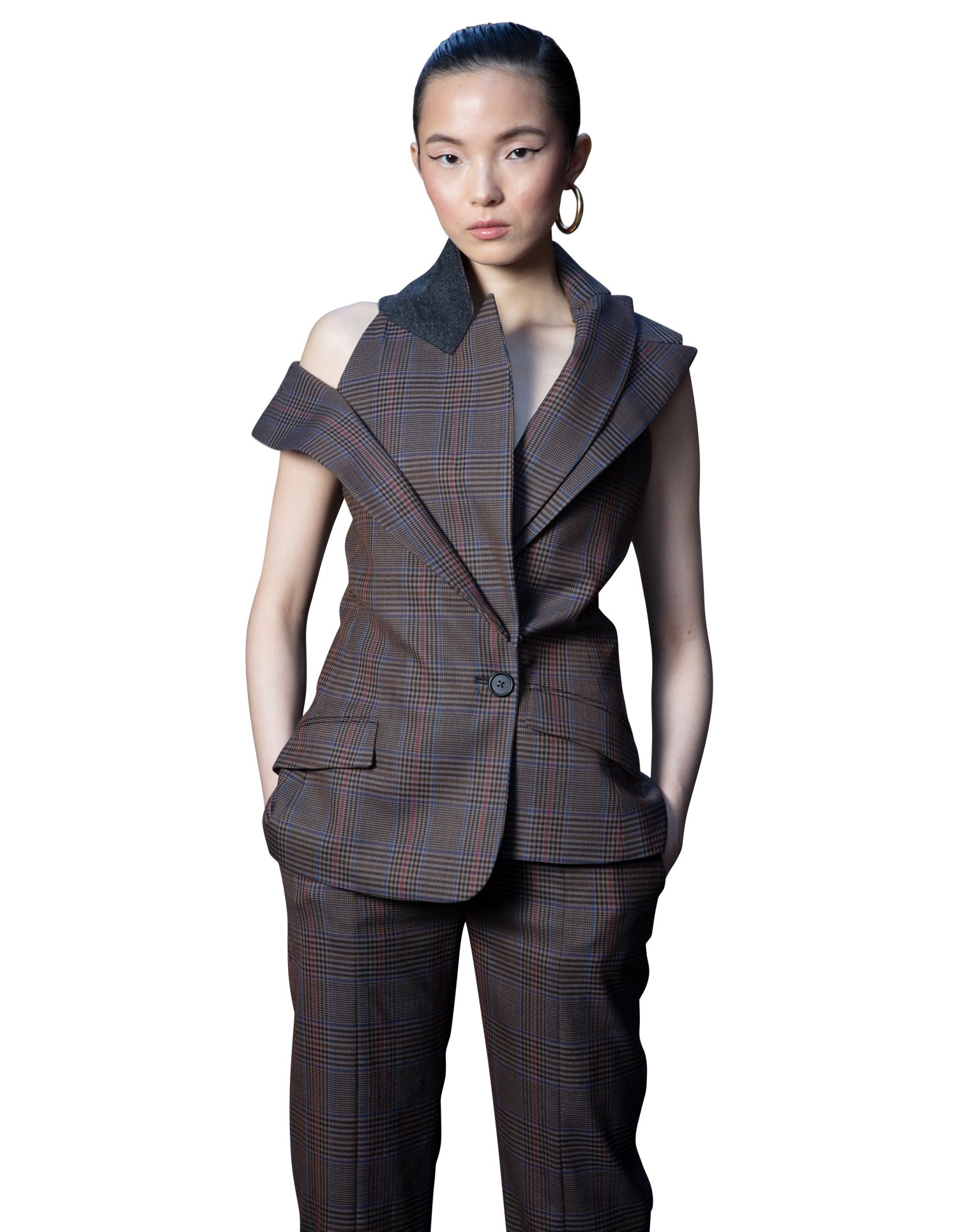 MONSE Plaid Double Lapel Vest in Tan Multi on Model Front Detail View