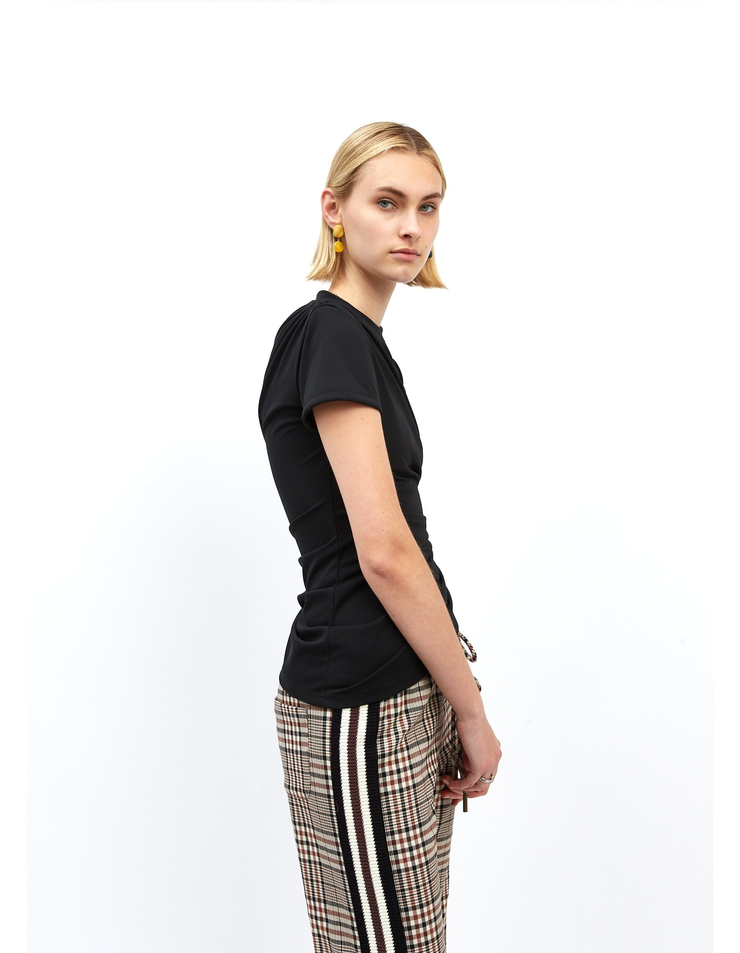 MONSE Plaid Joggers on Model Full Front View