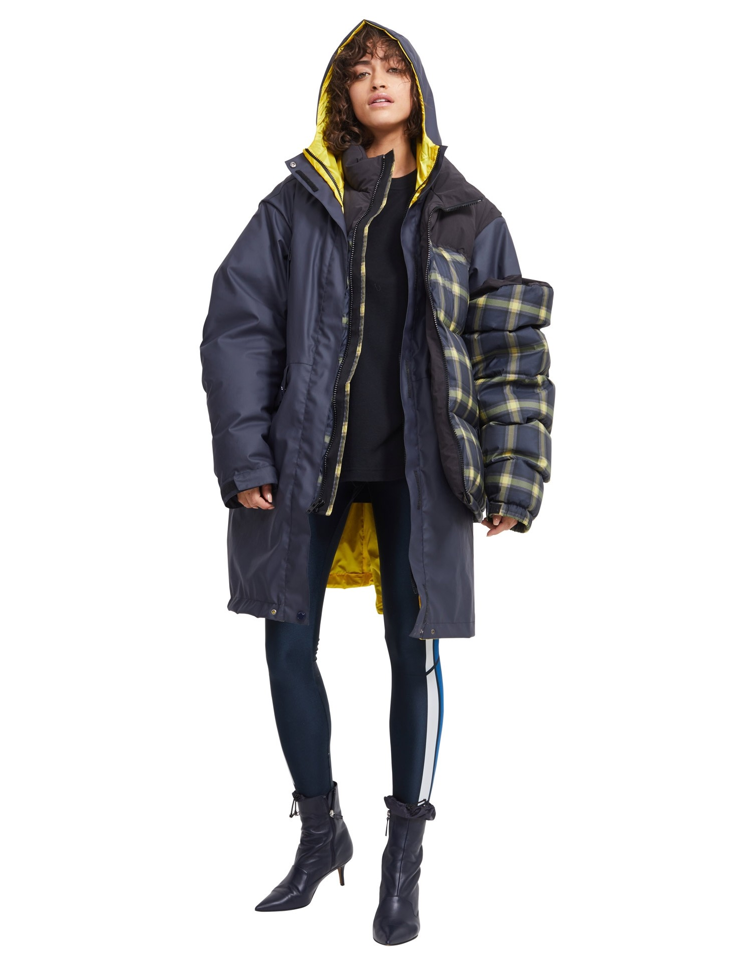 MONSE Plaid Puffer on Model Front View
