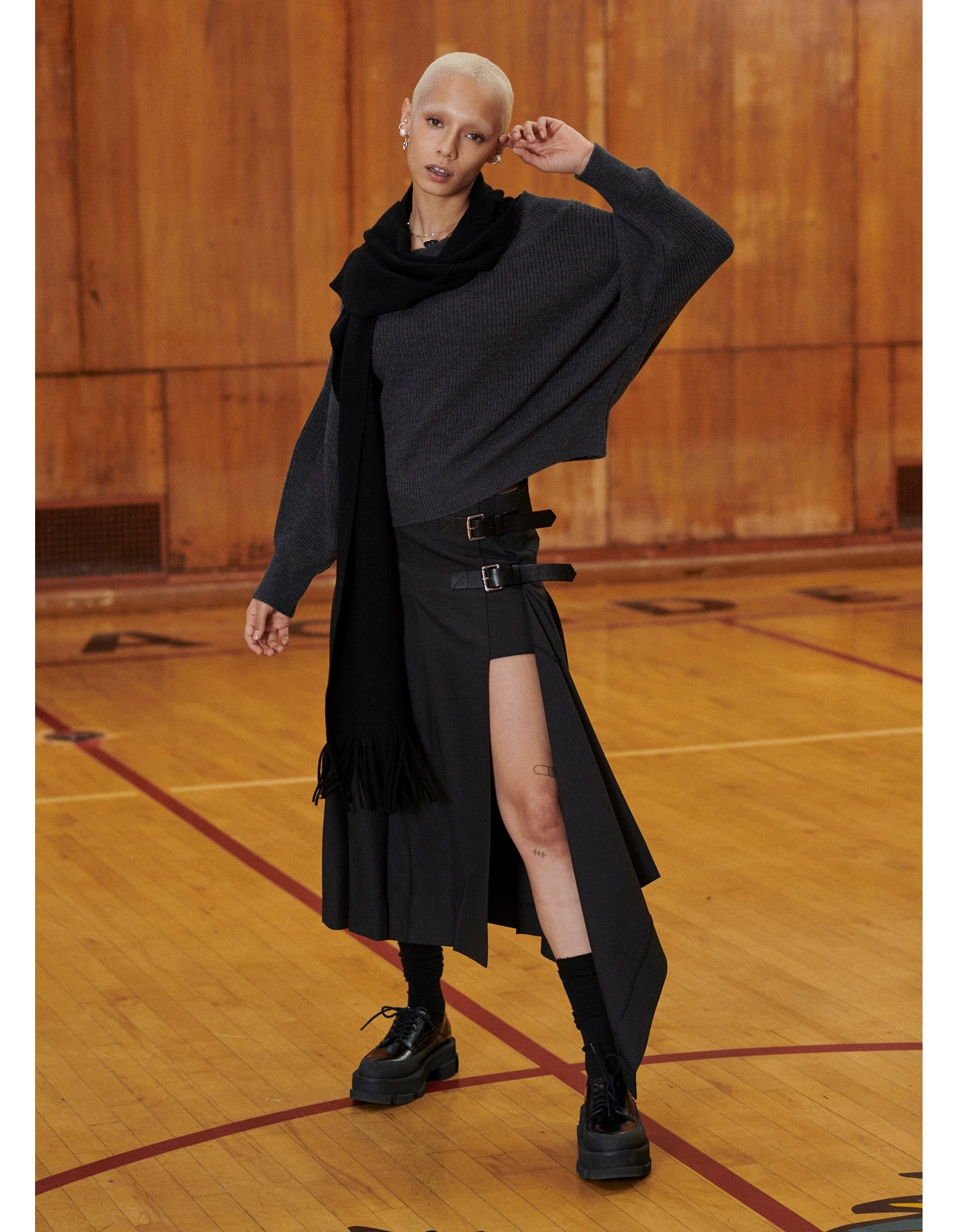MONSE Pleated Academy Skirt in Dark Charcoal on Front View
