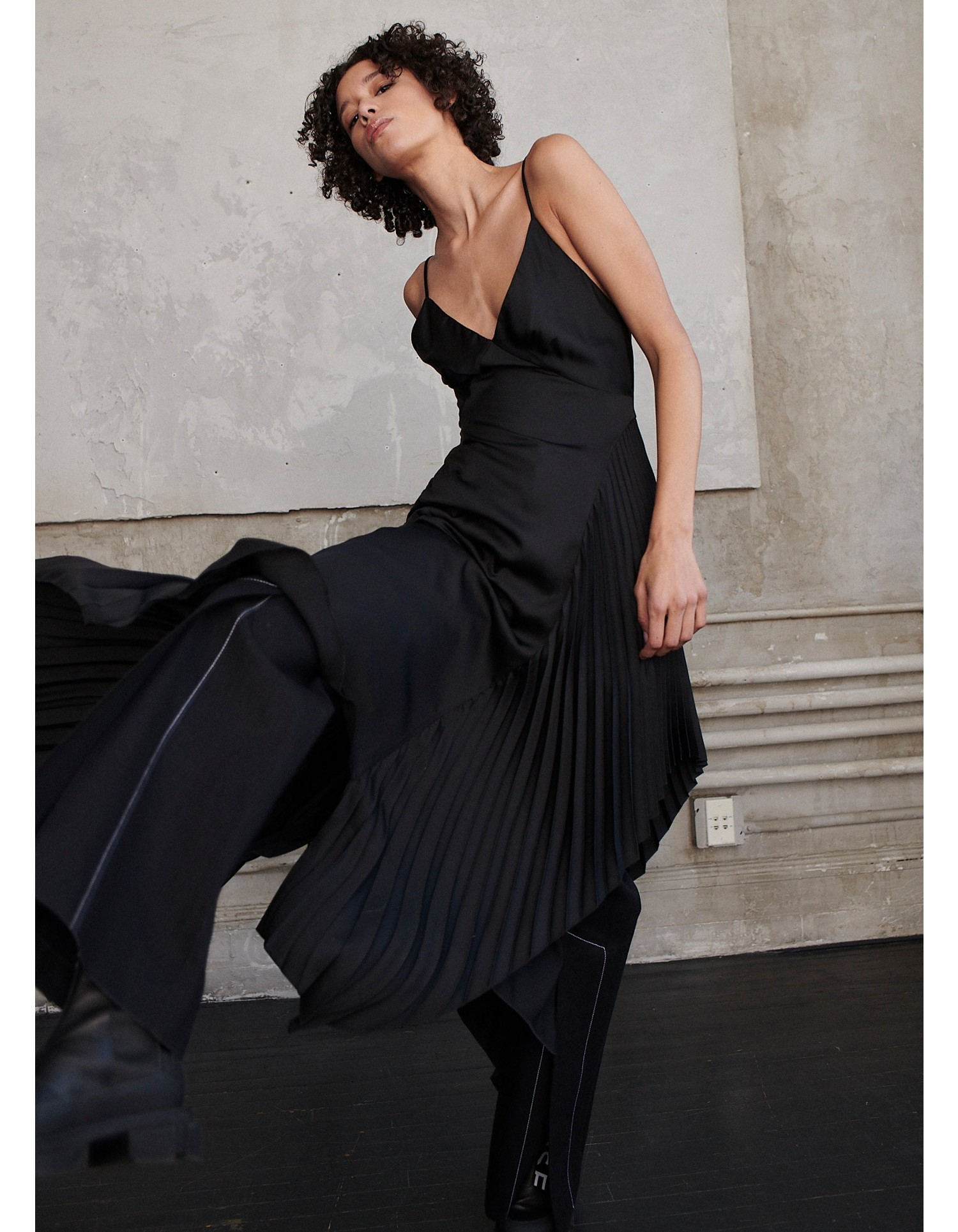 MONSE Pleated Slip Dress on Model Front View