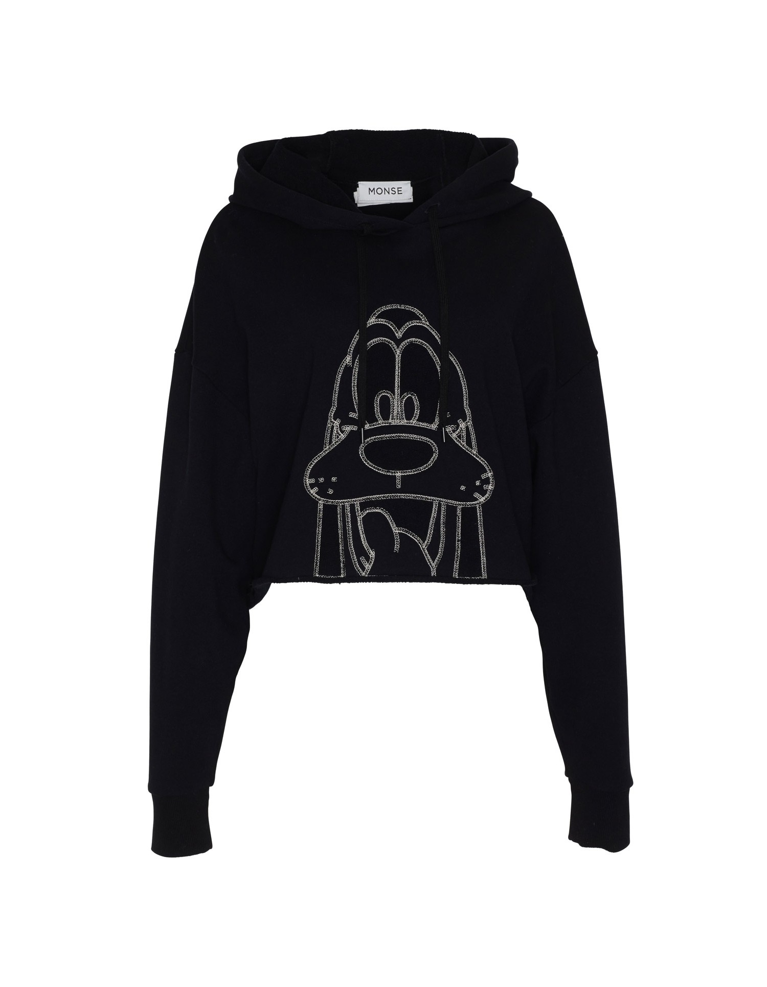 MONSE Pluto Cropped Hoodie in Black on Model Full Front