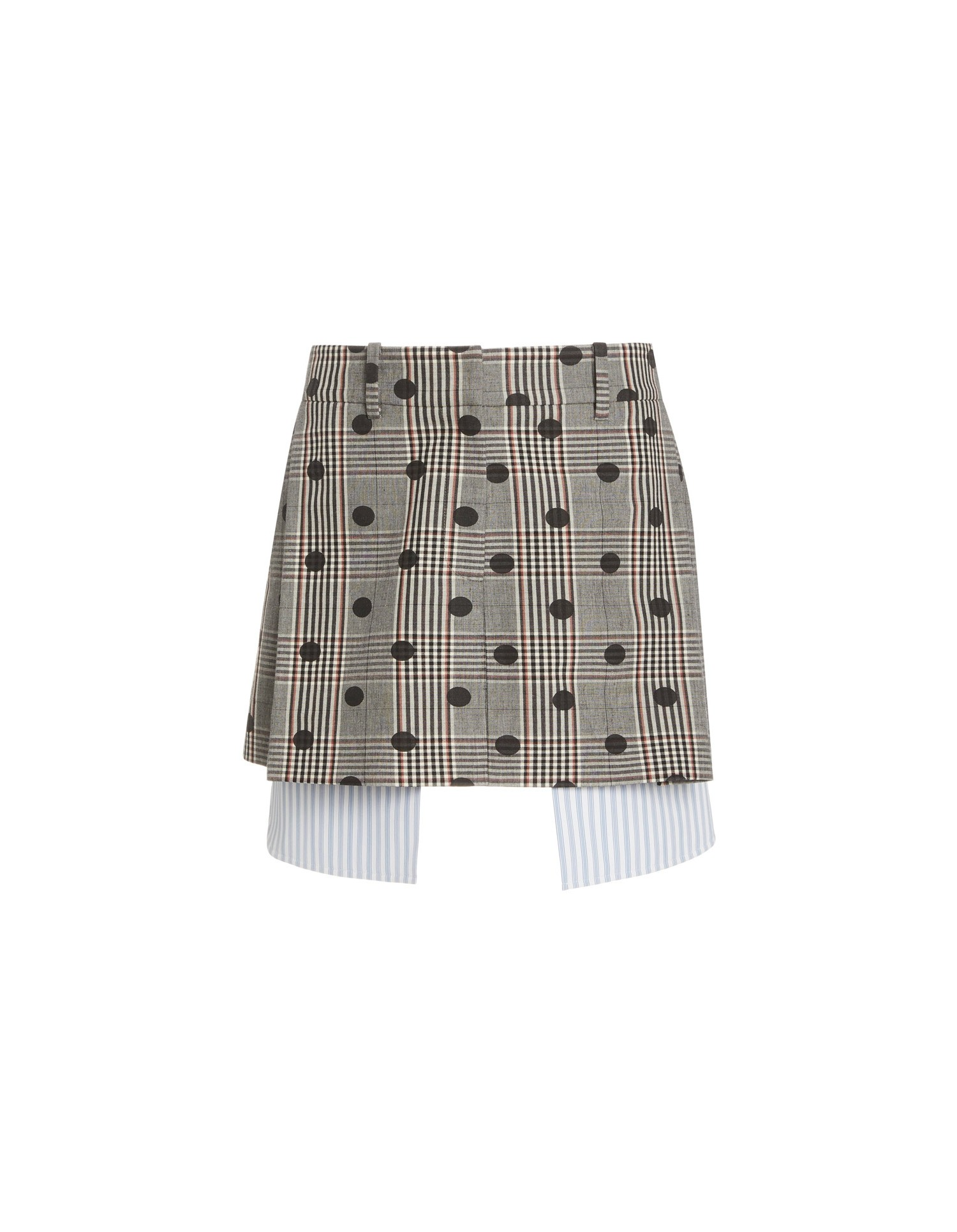 MONSE Polka Dot Plaid Extended Pocket Mini Skirt Flat Front