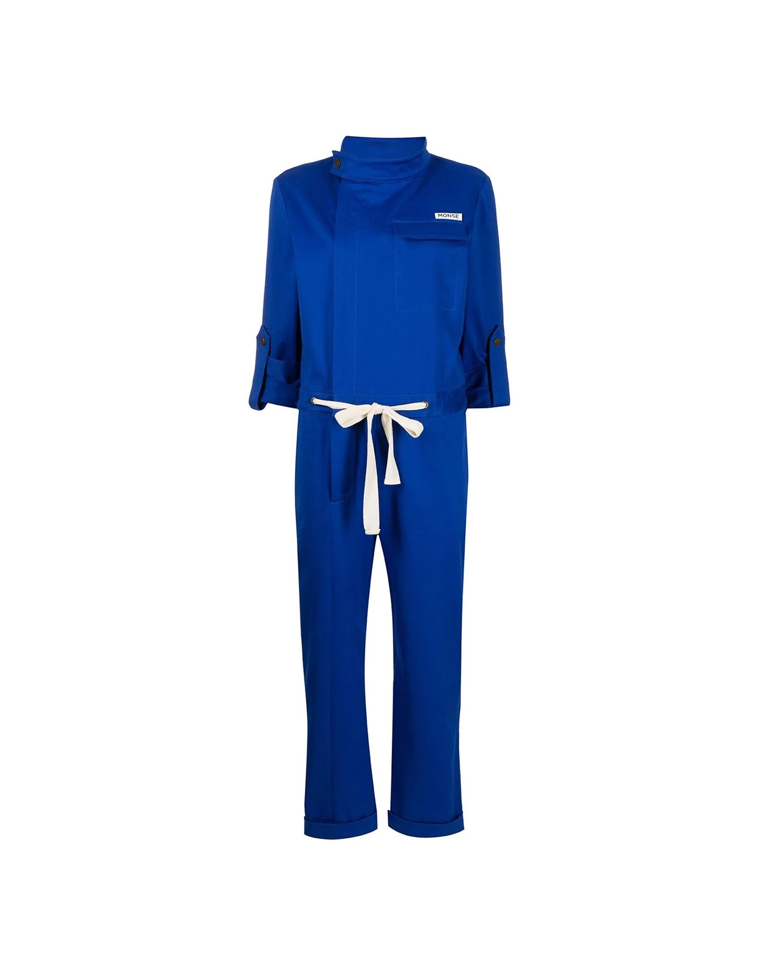 MONSE Racer Jumpsuit in Electric Blue on Model No Background Front