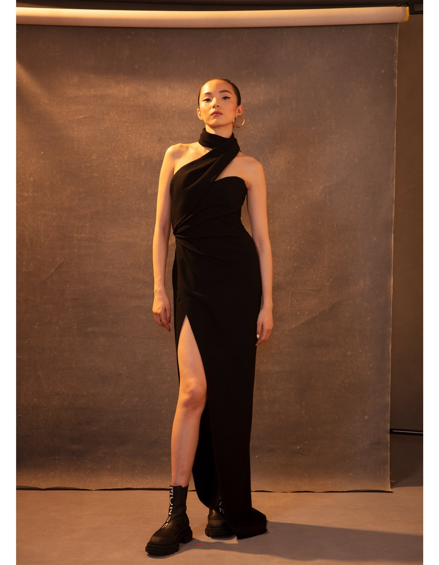MONSE Asymmetrical Halter Gown in Black on Model Front View