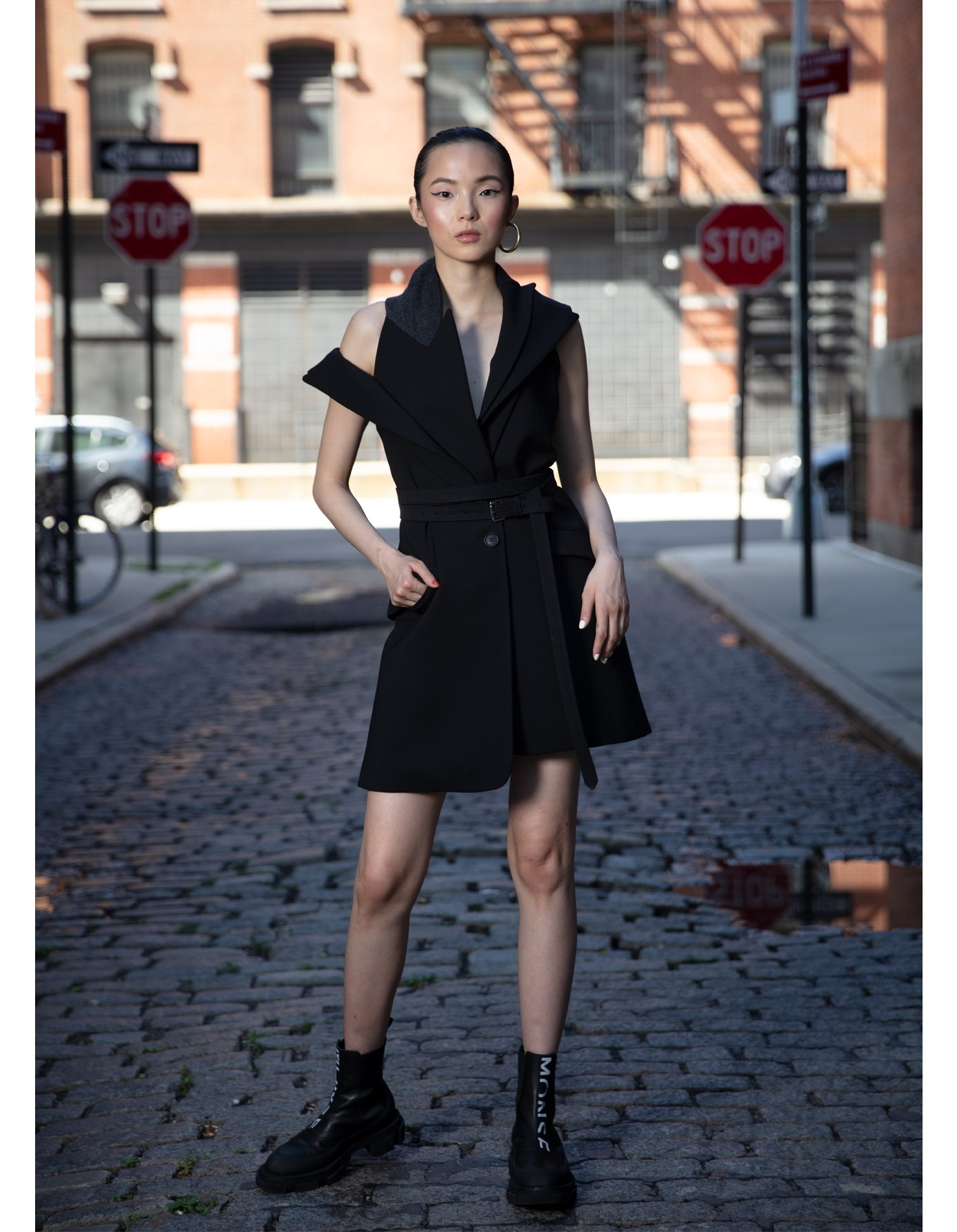 MONSE Double Lapel Jacket Dress in Black on Model Detail View