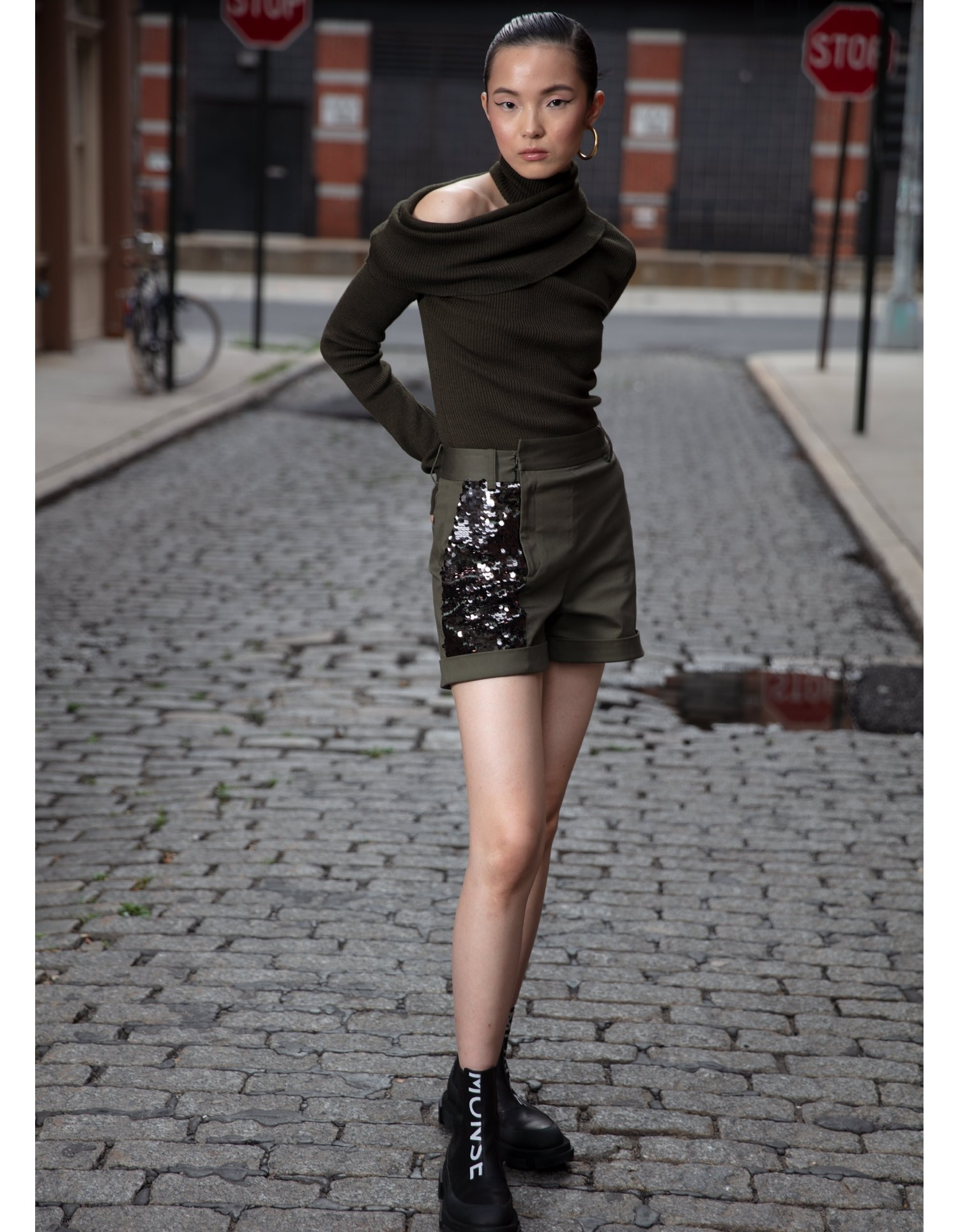 MONSE Foldover Draped Knit in Olive on Model Front View