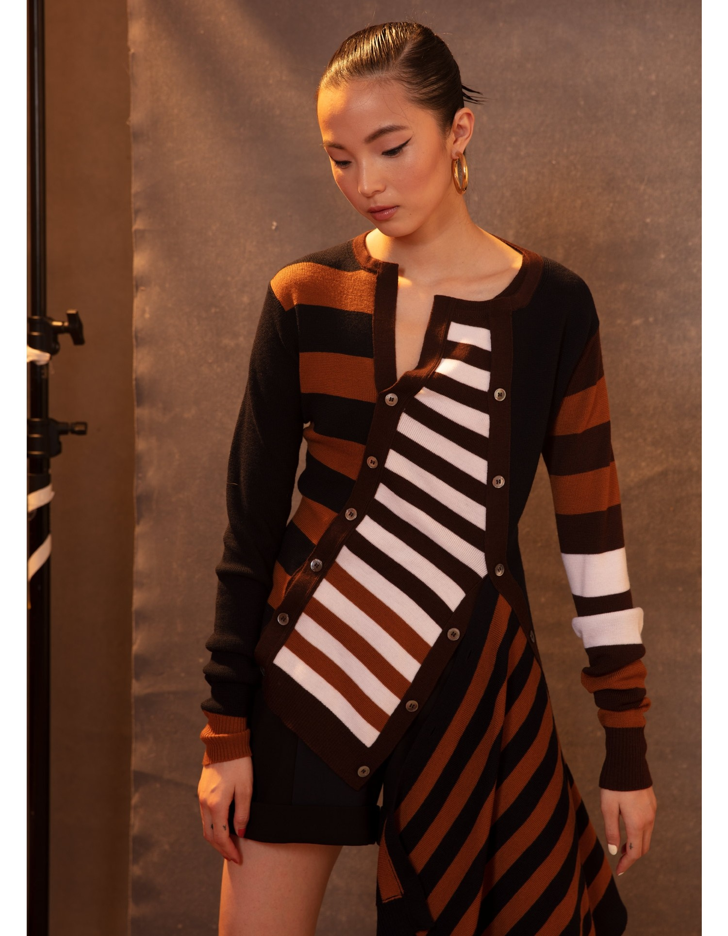 MONSE Multilayer Striped Cardigan in Midnight Multi on Model Front View