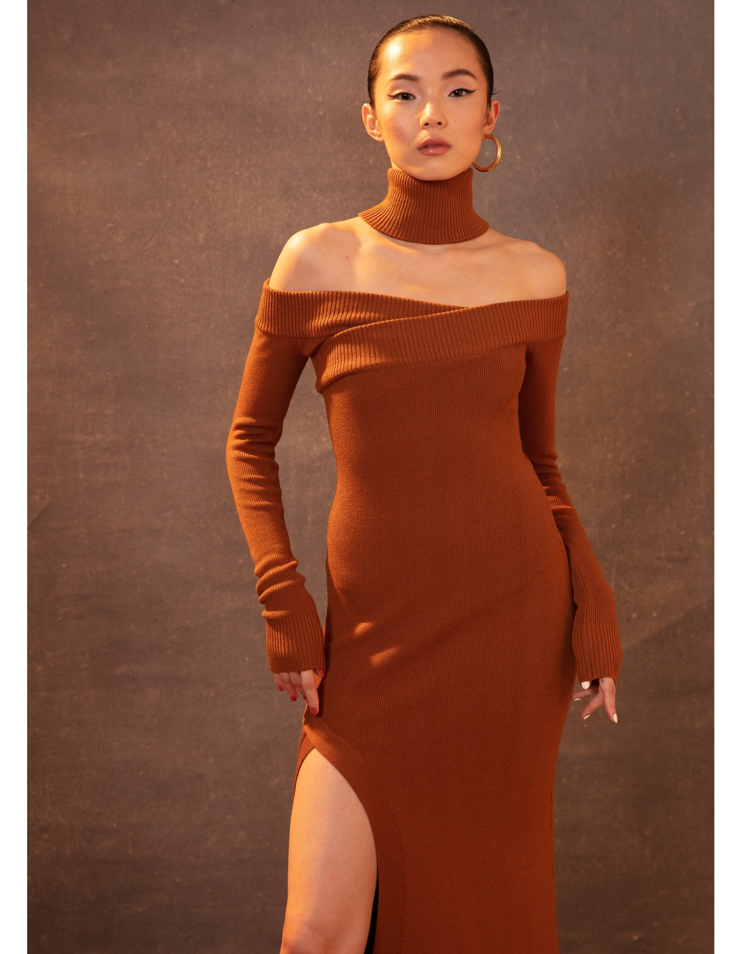 MONSE Off the Shoulder Turtleneck Arch Dress in Tan on Model Full View