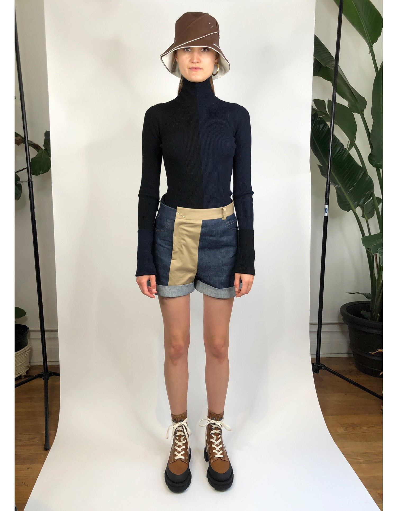 MONSE Patchwork Denim and Trouser Short on Model Front View