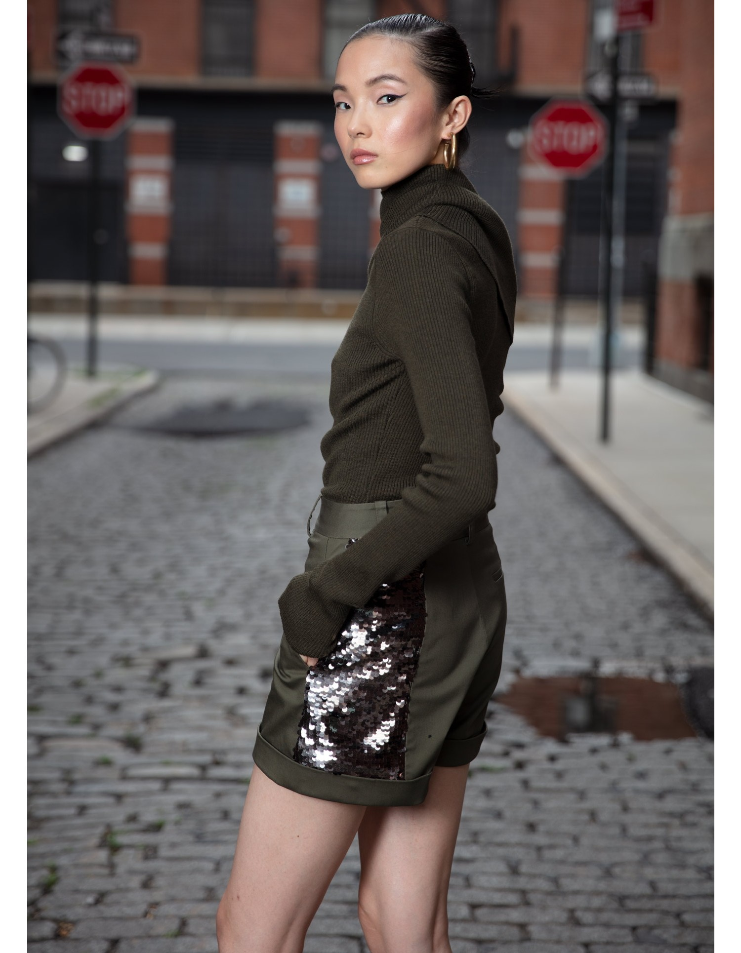 MONSE Sequined Trouser Short in Olive and Taupe on Model Side View