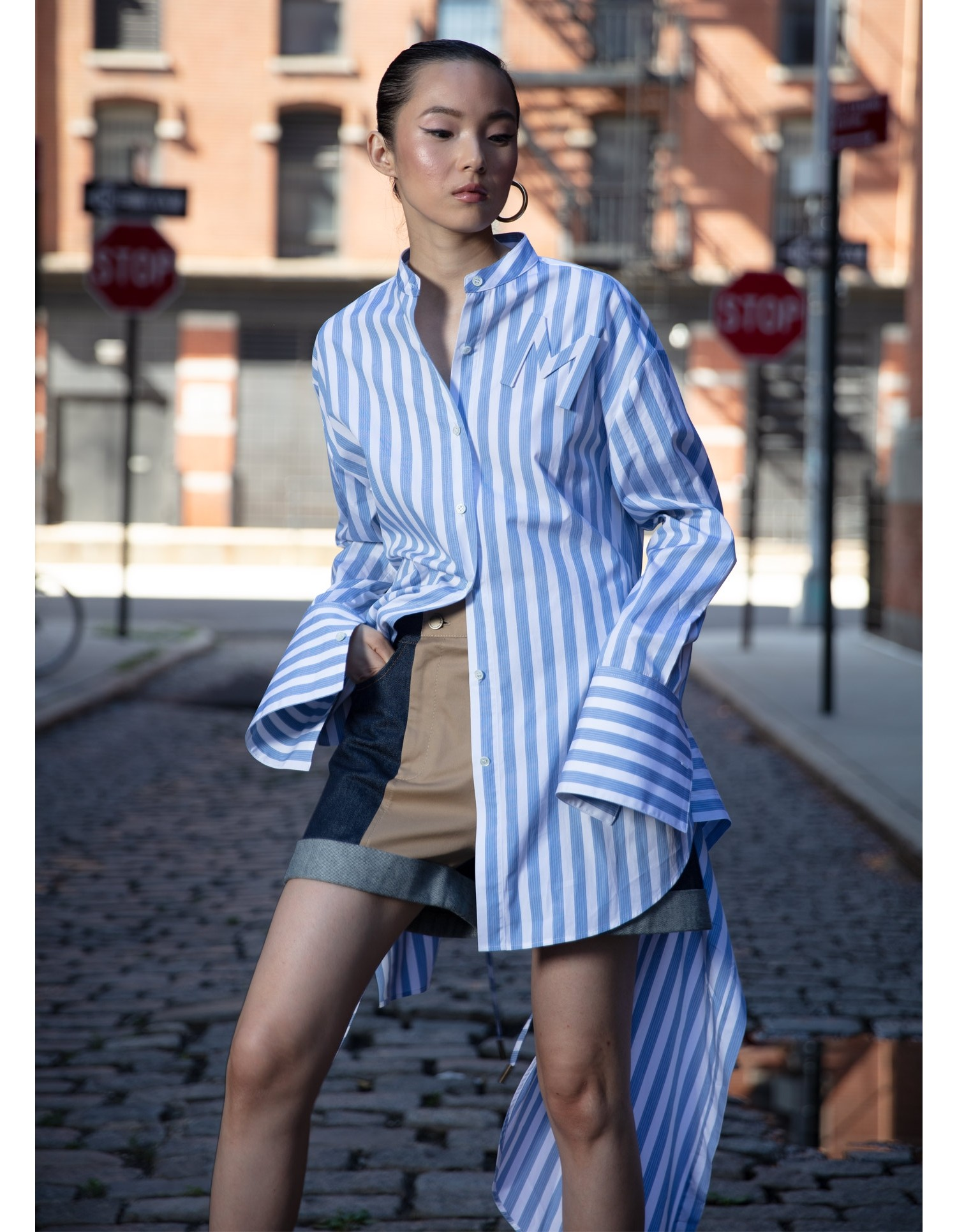 MONSE Striped Drawstring Shirt on Model Front View