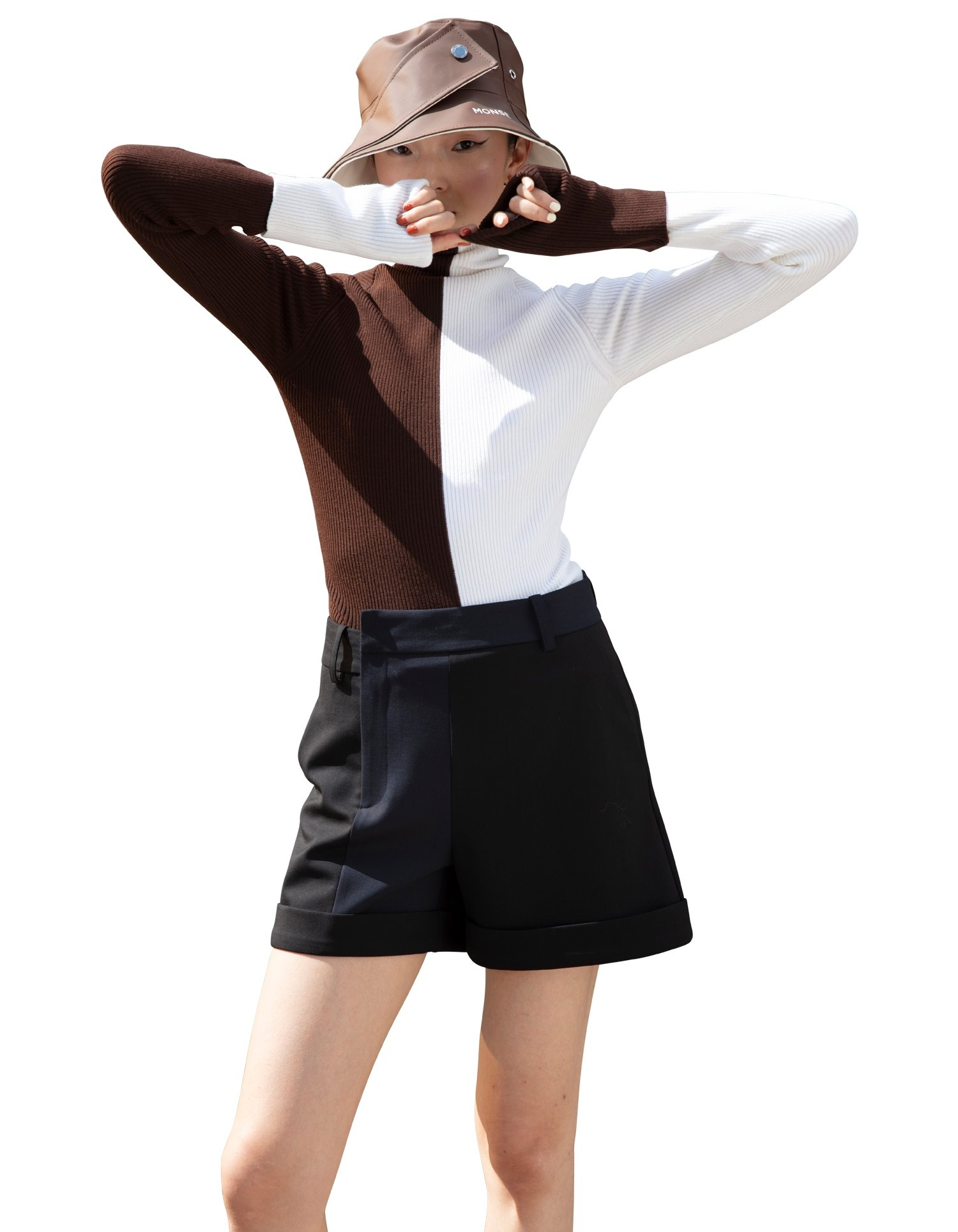 MONSE Ribbed Color Block Turtleneck Knit in Ivory and Chocolate on Model Front View