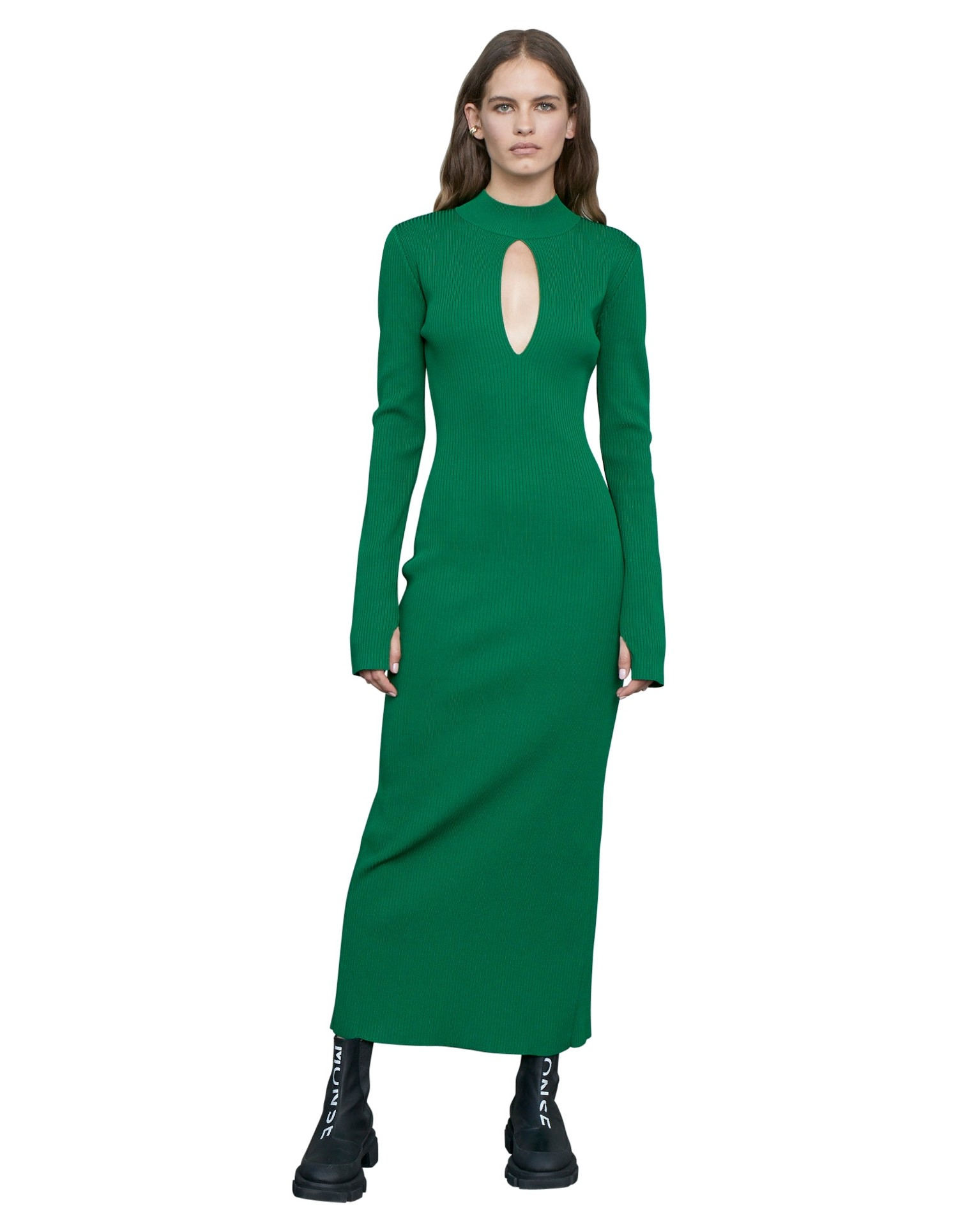 MONSE RIbbed Keyhole Knit Dress in Grass on Model Full Front View