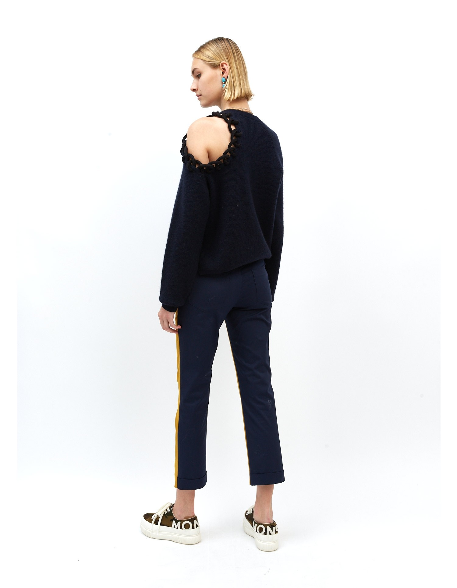 MONSE Rope Cut Out Shoulder Sweater on Model Front Side View