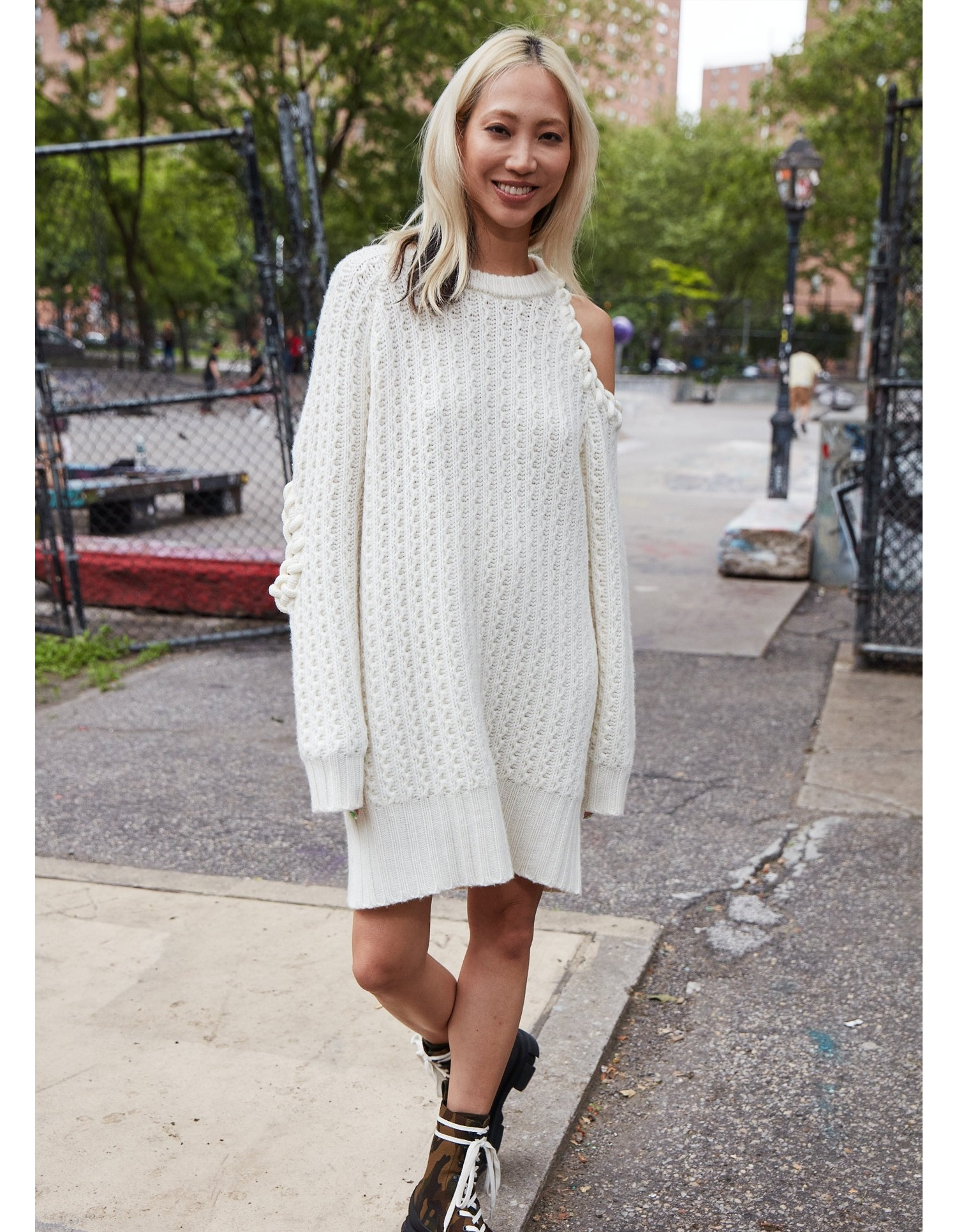MONSE Rope Cut Out Sweater Dress on Model Full Front View