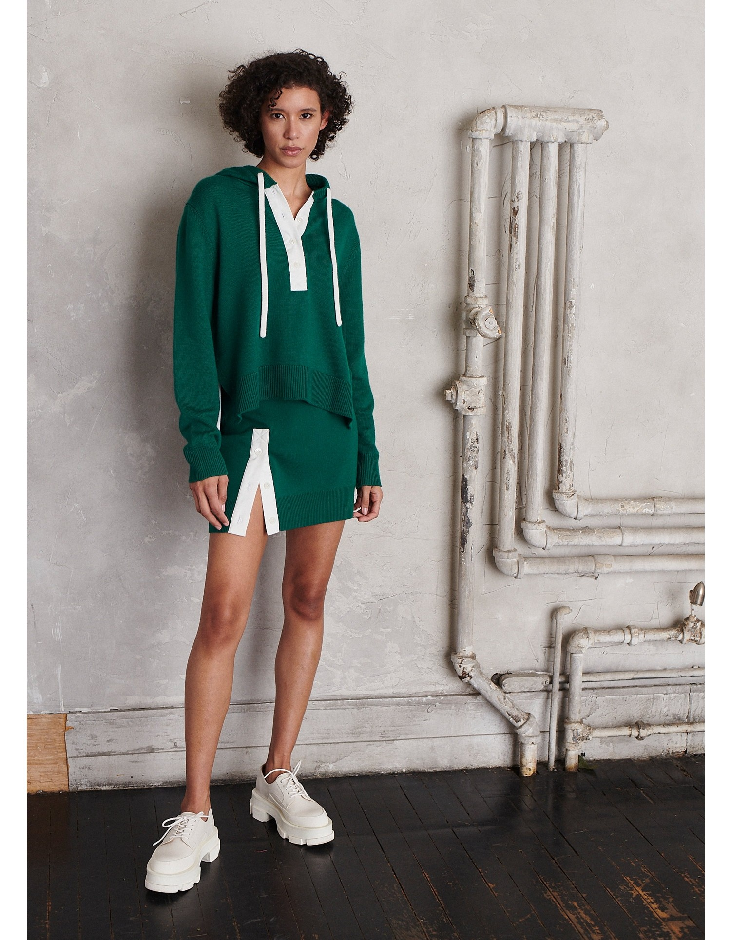 MONSE Rugby Knit Hoodie in Grass and Ivory on Model Front View