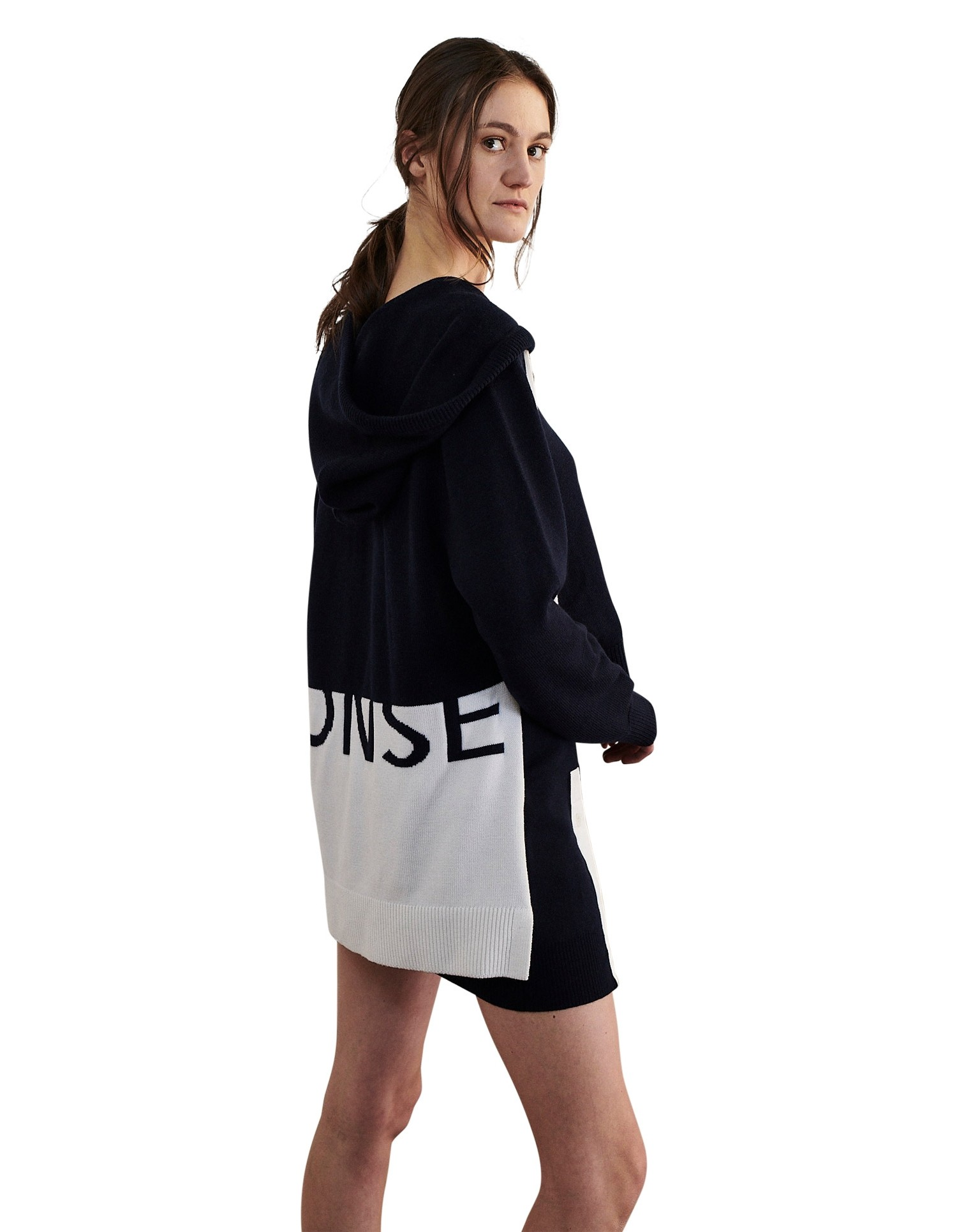 MONSE Rugby Knit Hoodie in Midnight and Ivory on Model Back View
