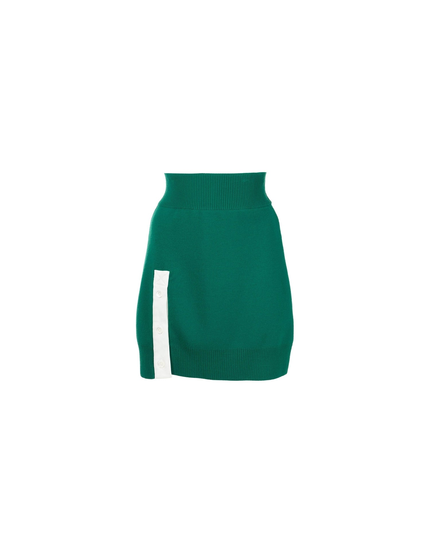 MONSE Rugby Knit Mini Skirt in Grass and Ivory Flat Front