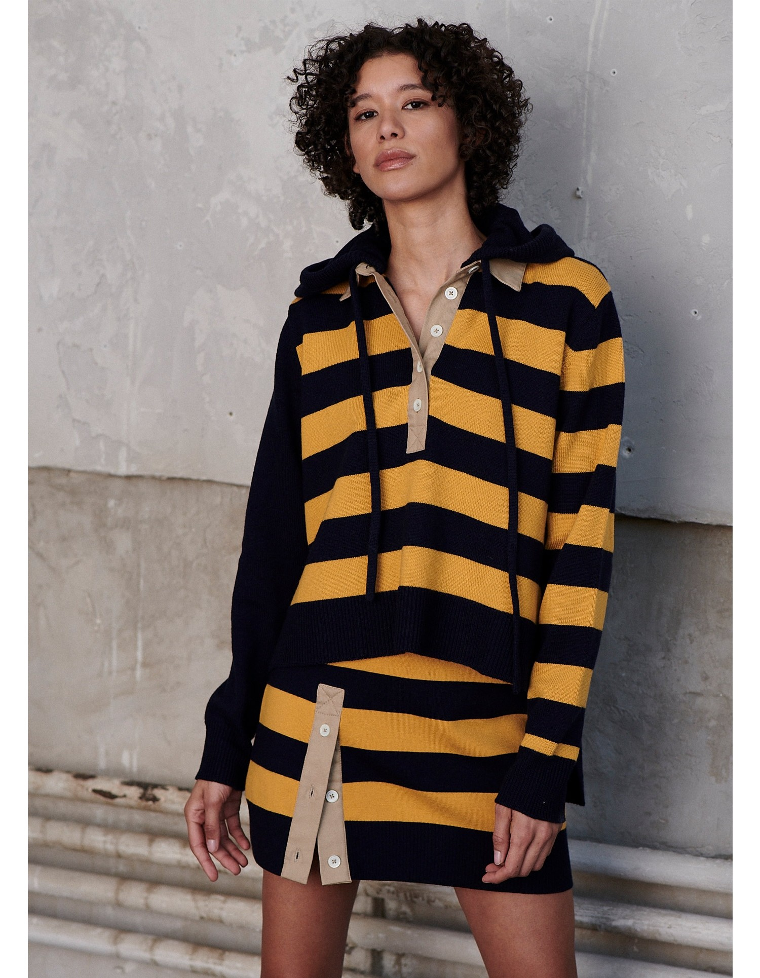MONSE Rugby Striped Knit Hoodie on Model Front View