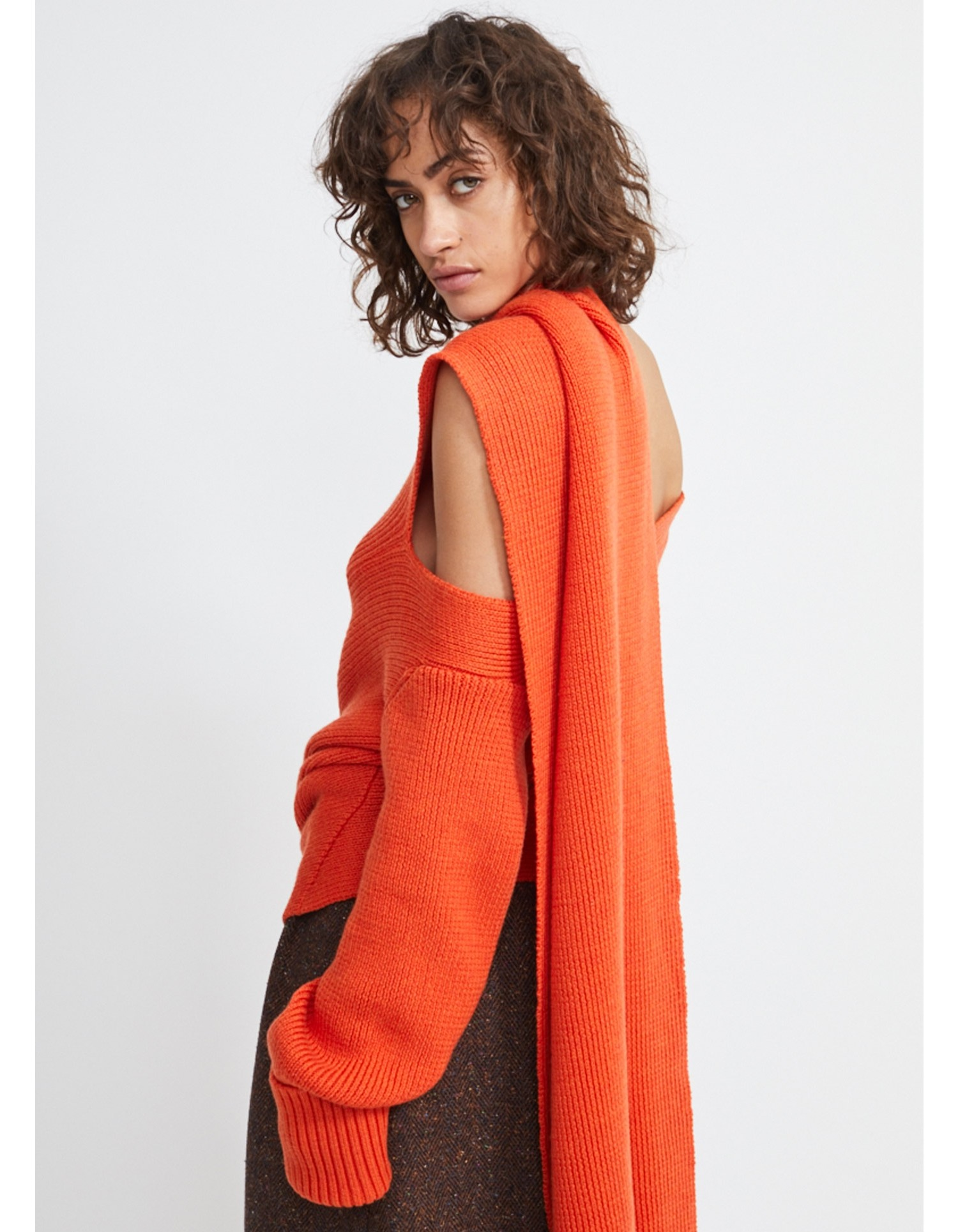 MONSE Scarf Knit in Bright Orange Flat Front