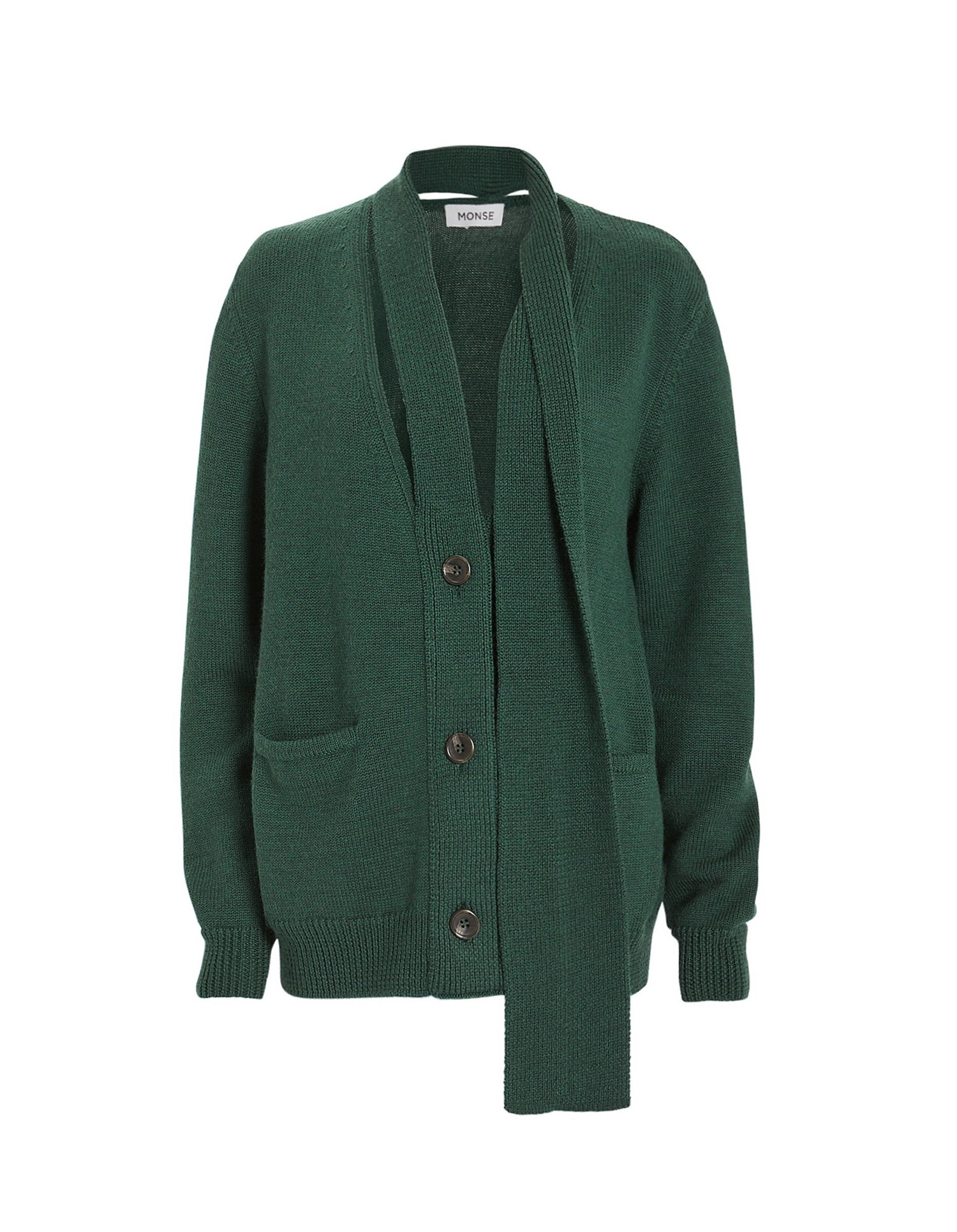 MONSE Scarf Placket Cardigan in Evergreen on Model Side Detail View