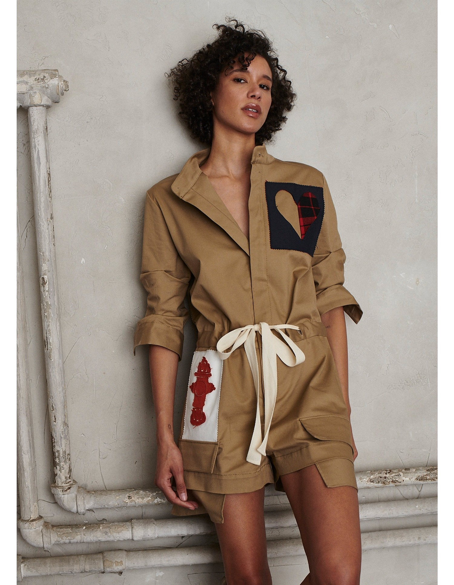 MONSE Scrapbook Patched Scrunch Sleeve Romper on Model Front View