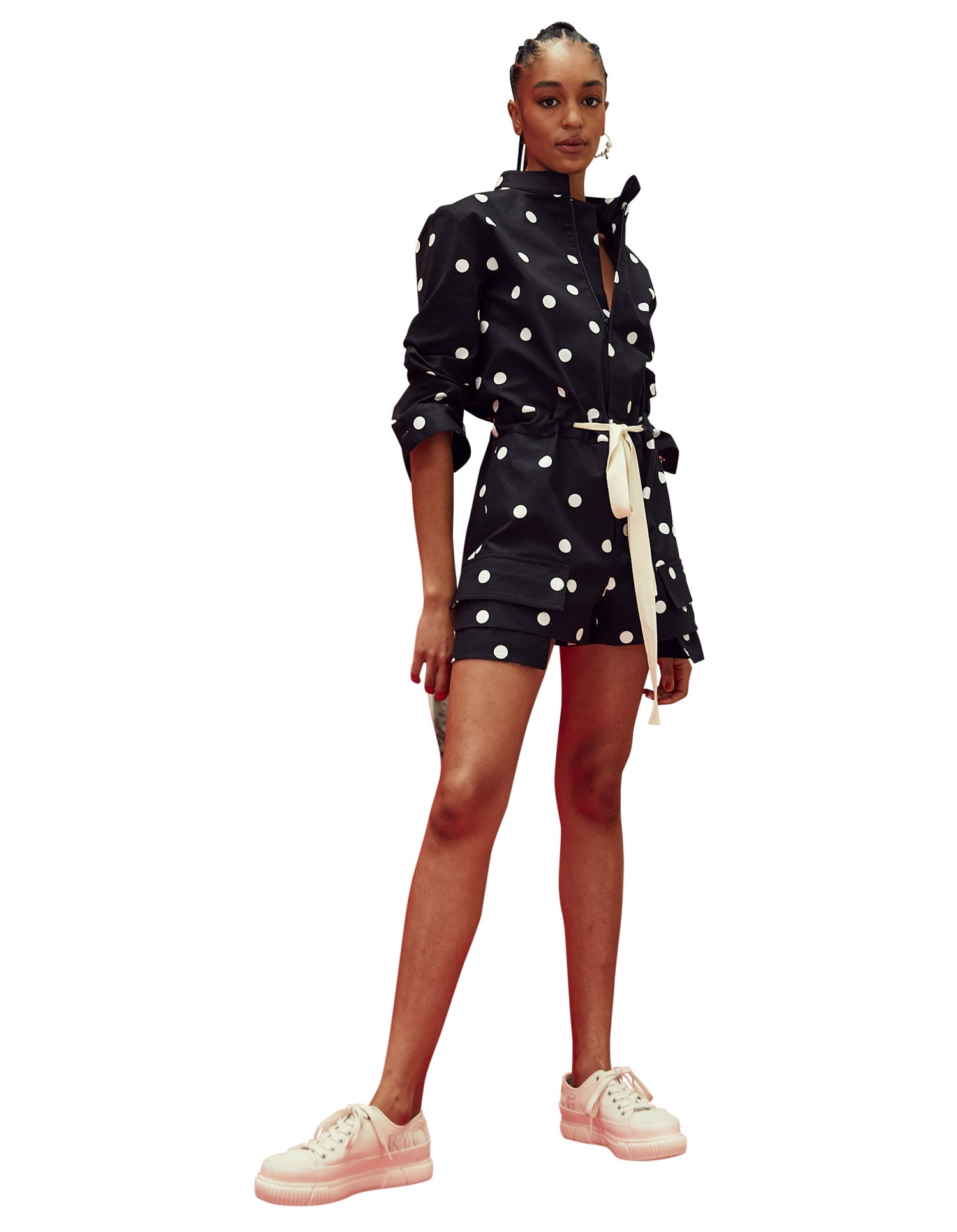 MONSE Scrunch Sleeve Polka Dot Romper on Model No Background Front