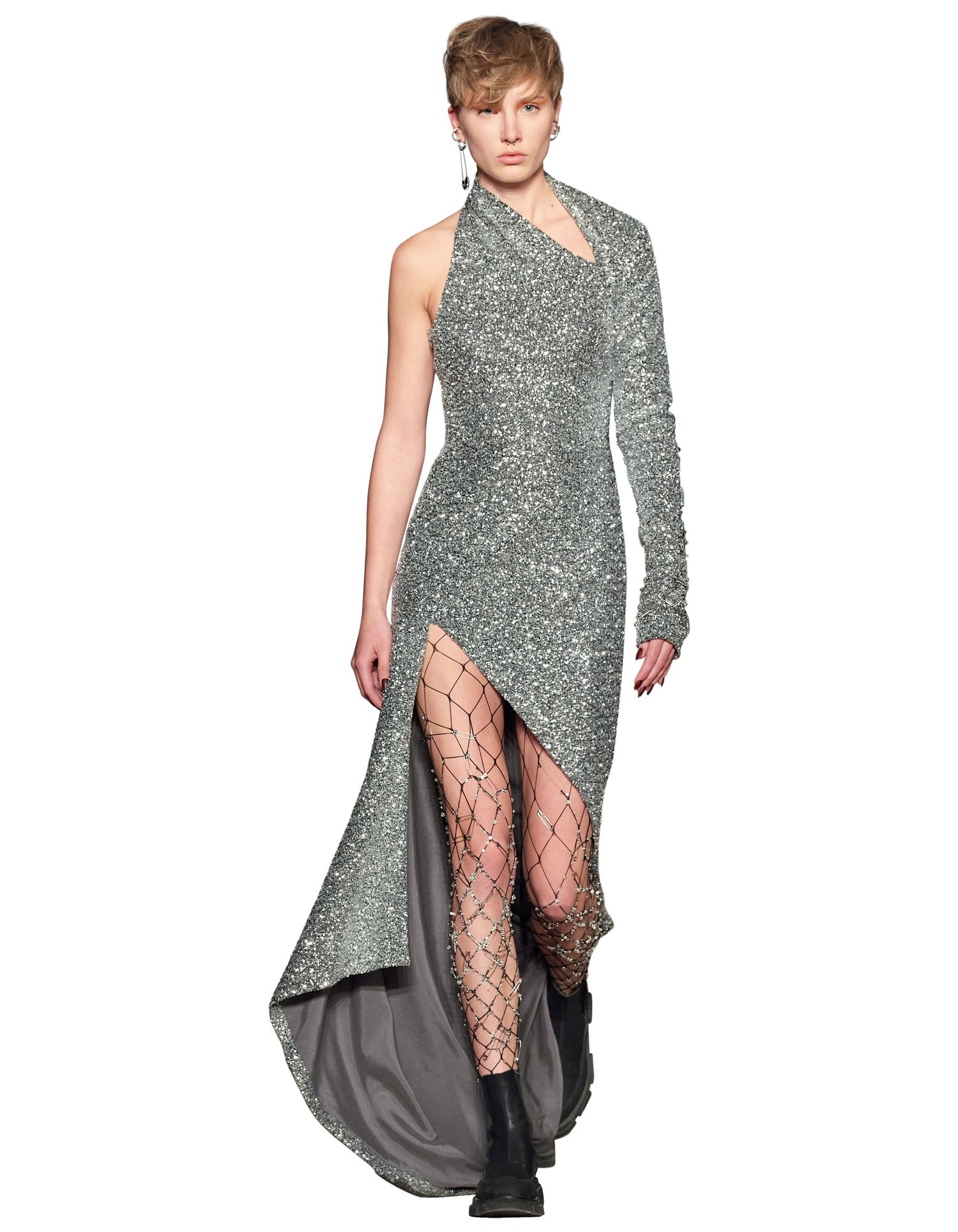 MONSE Sequin Sliced Gown in Silver on Model Front View